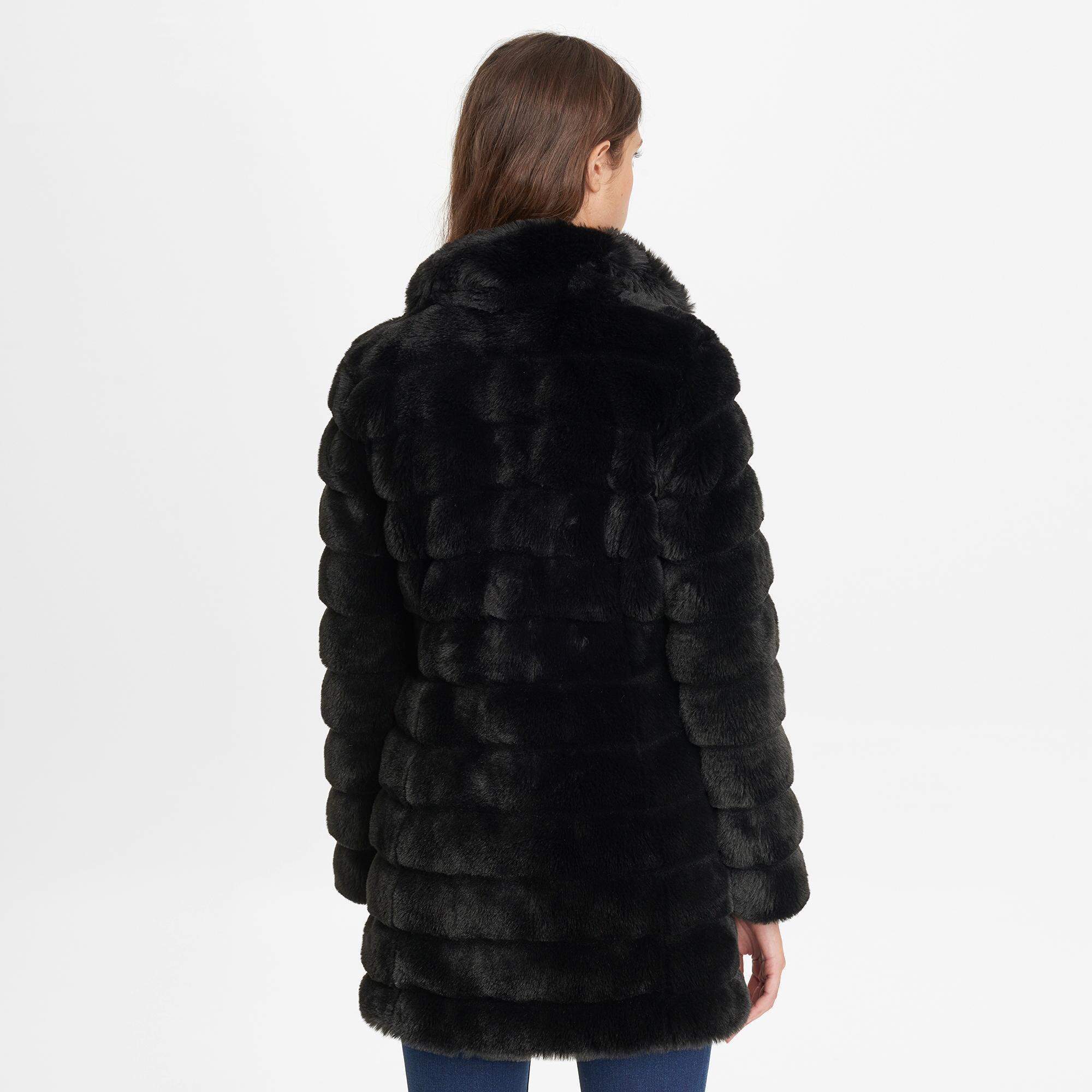 Lyst - Jones New York Faux-fur Walker Coat in Black