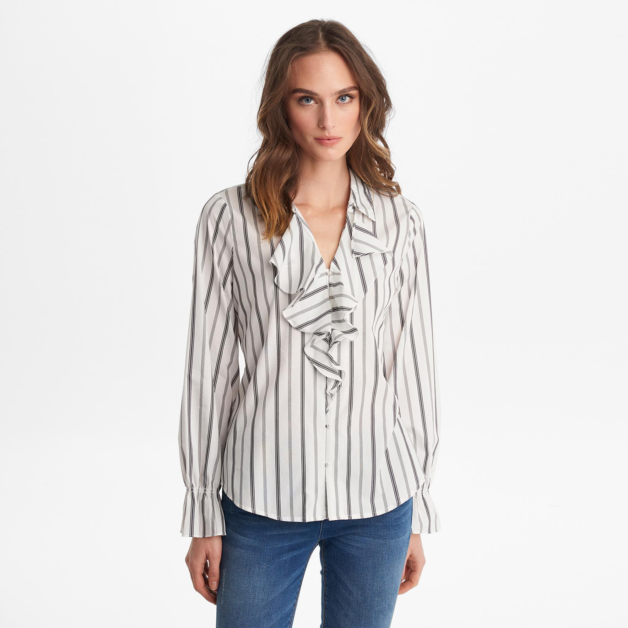 a364c4e97f9aa7 Lyst - Karl Lagerfeld Striped Ruffle Front Blouse Top in White