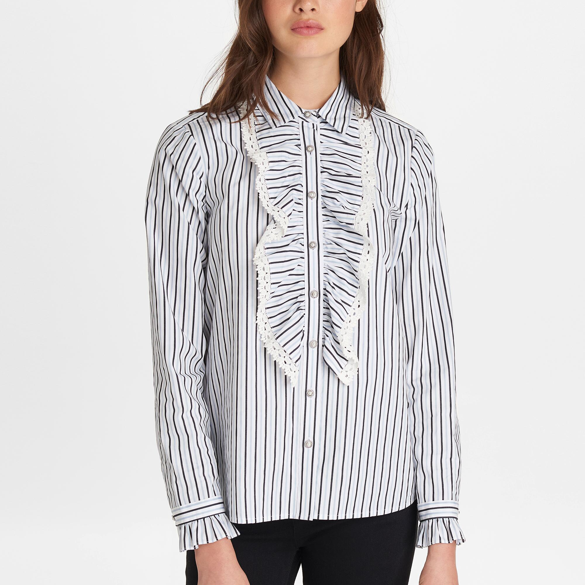 6ee5b16fdd1e3a Karl Lagerfeld - Multicolor Striped Blouse With Ruffle Front - Lyst. View  fullscreen