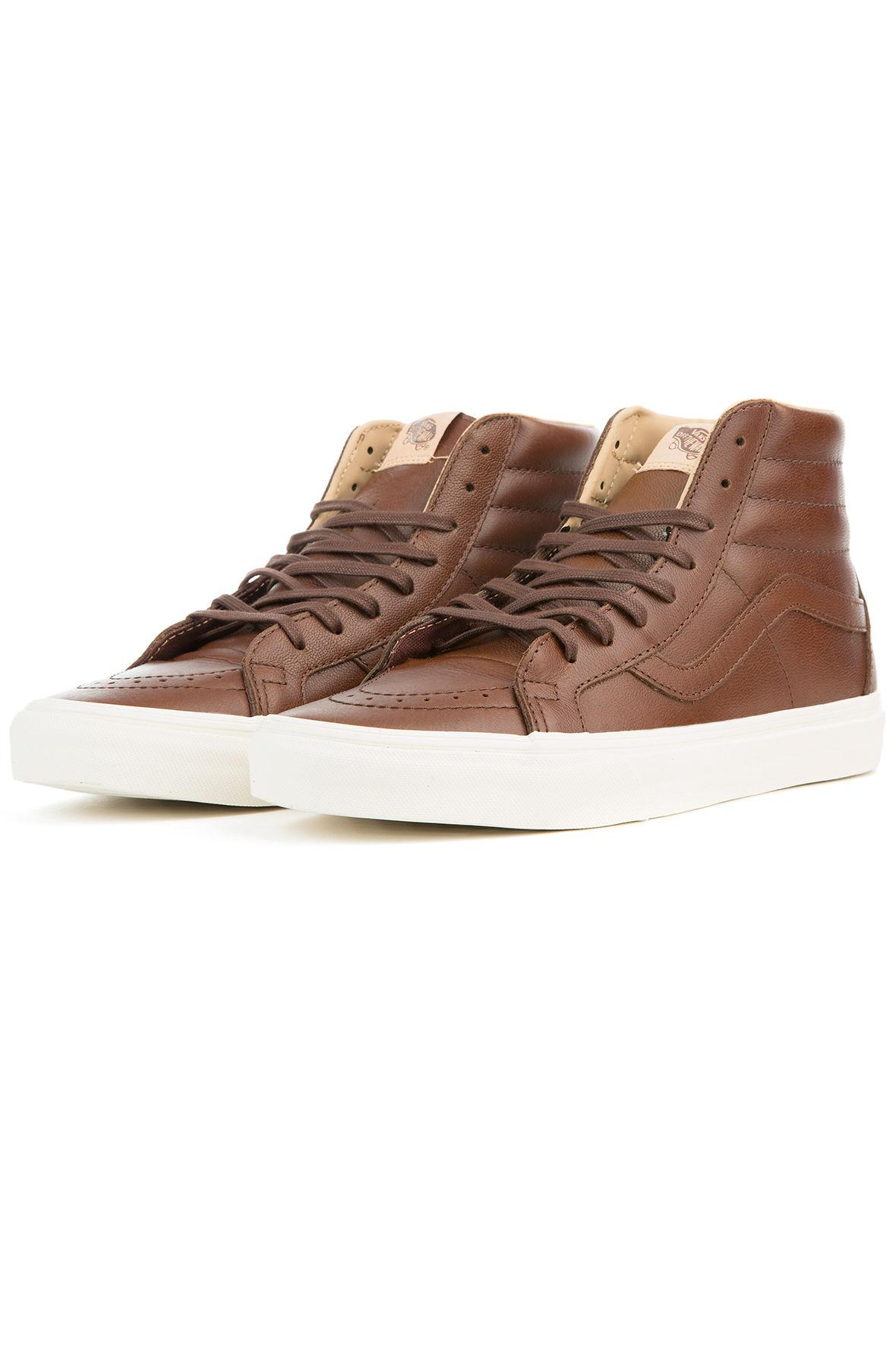 433979781d0 Lyst - Vans The Sk8 Hi Reissue Lux Leather In Shaved Chocolate And ...