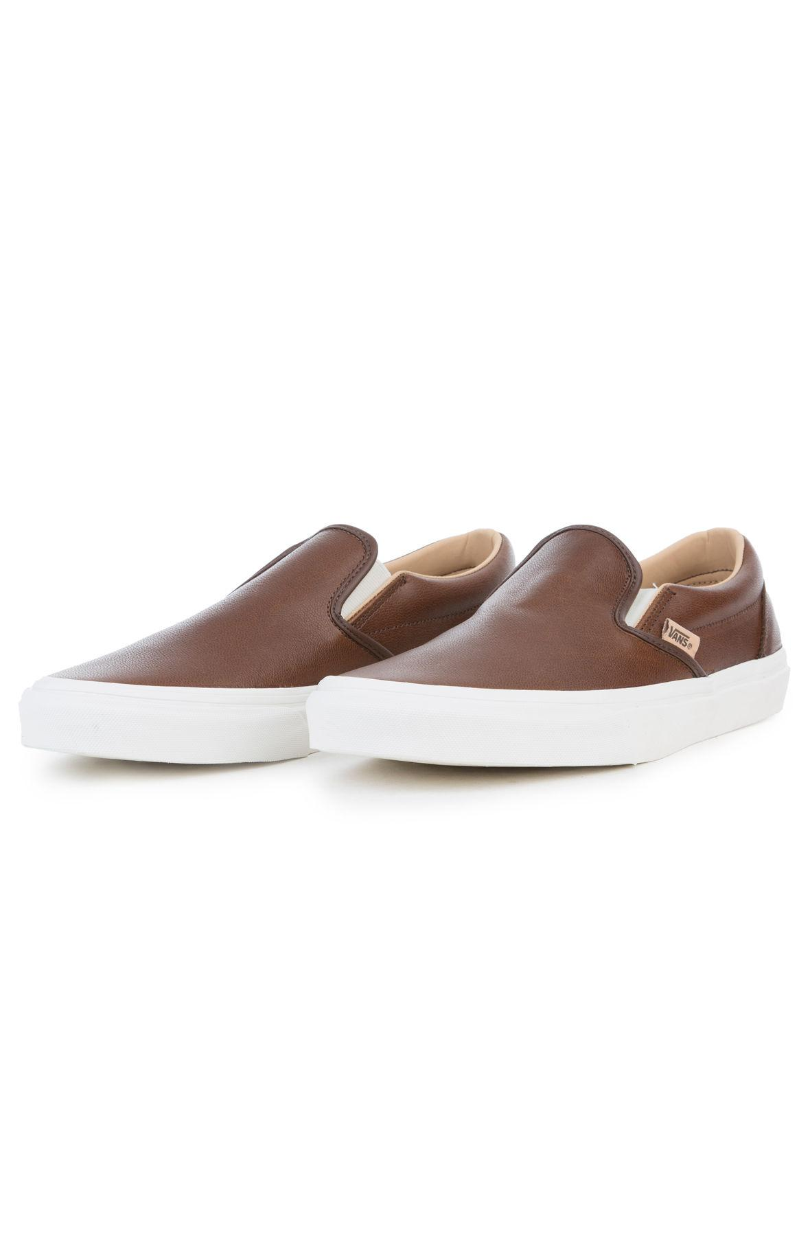Lyst - Vans The Classic Slip-on Lux Leather In Shaved Chocolate And ... 4d32dd1df