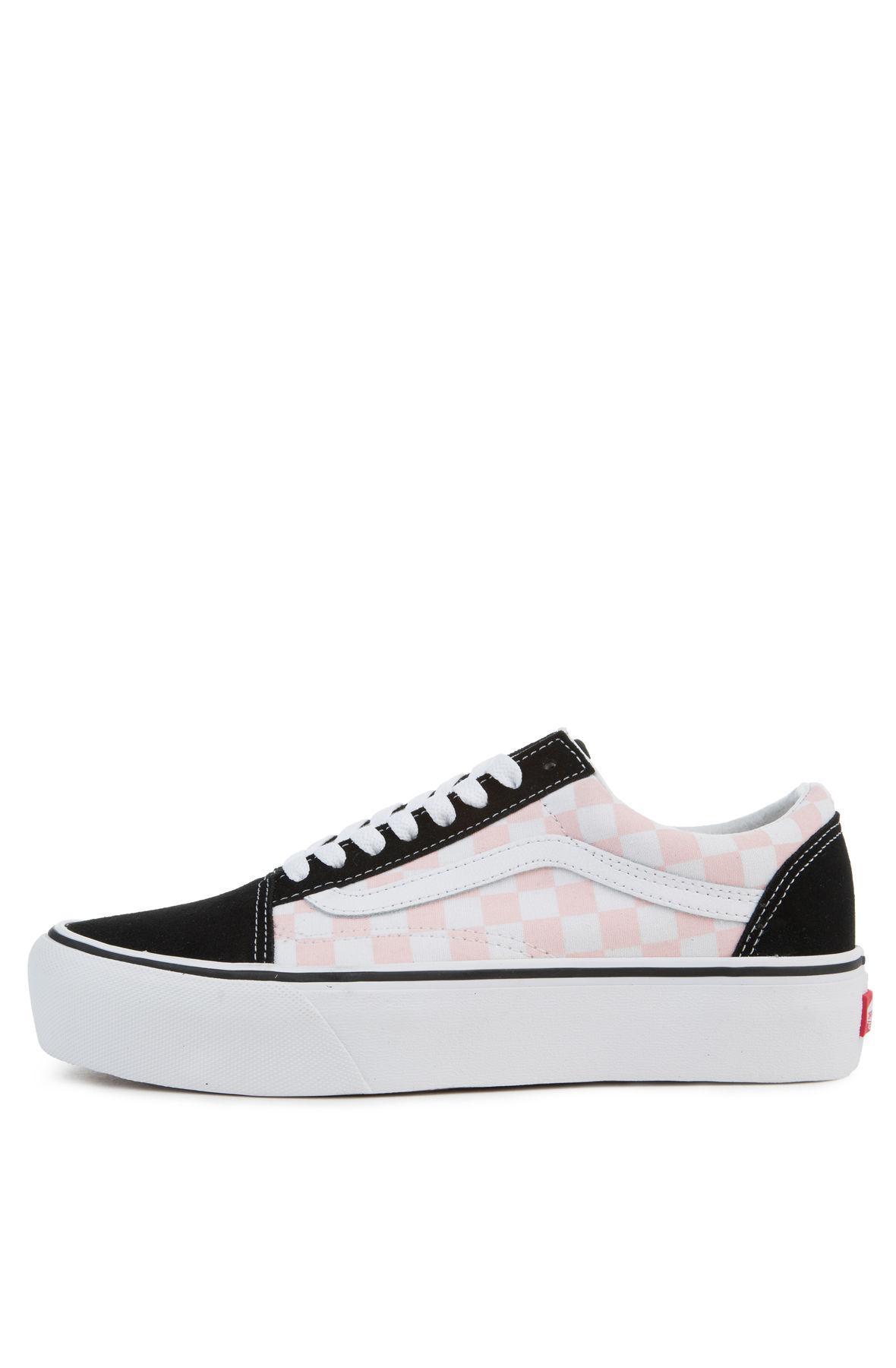 Lyst - Vans The Women s Old Skool Platform In Checkerboard Black And ... f8c53c967