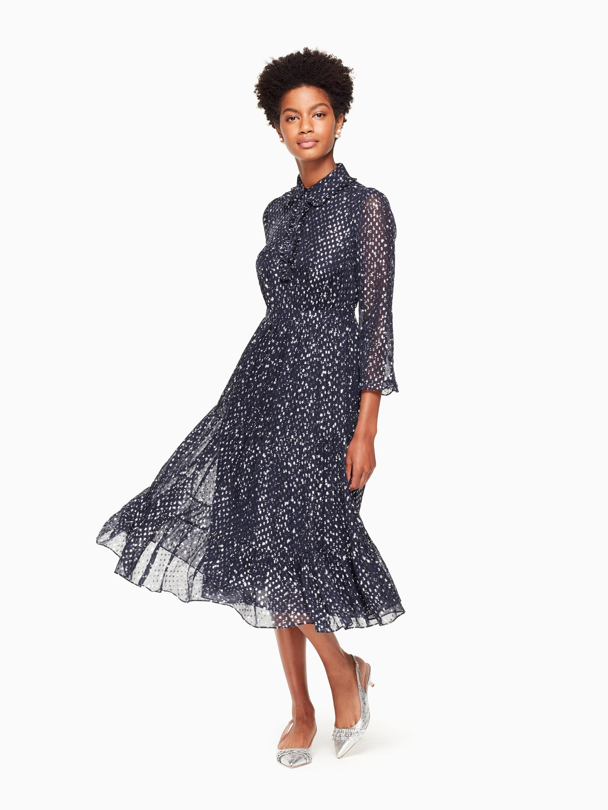 Lyst Kate Spade Night Sky Dot Midi Dress In Blue