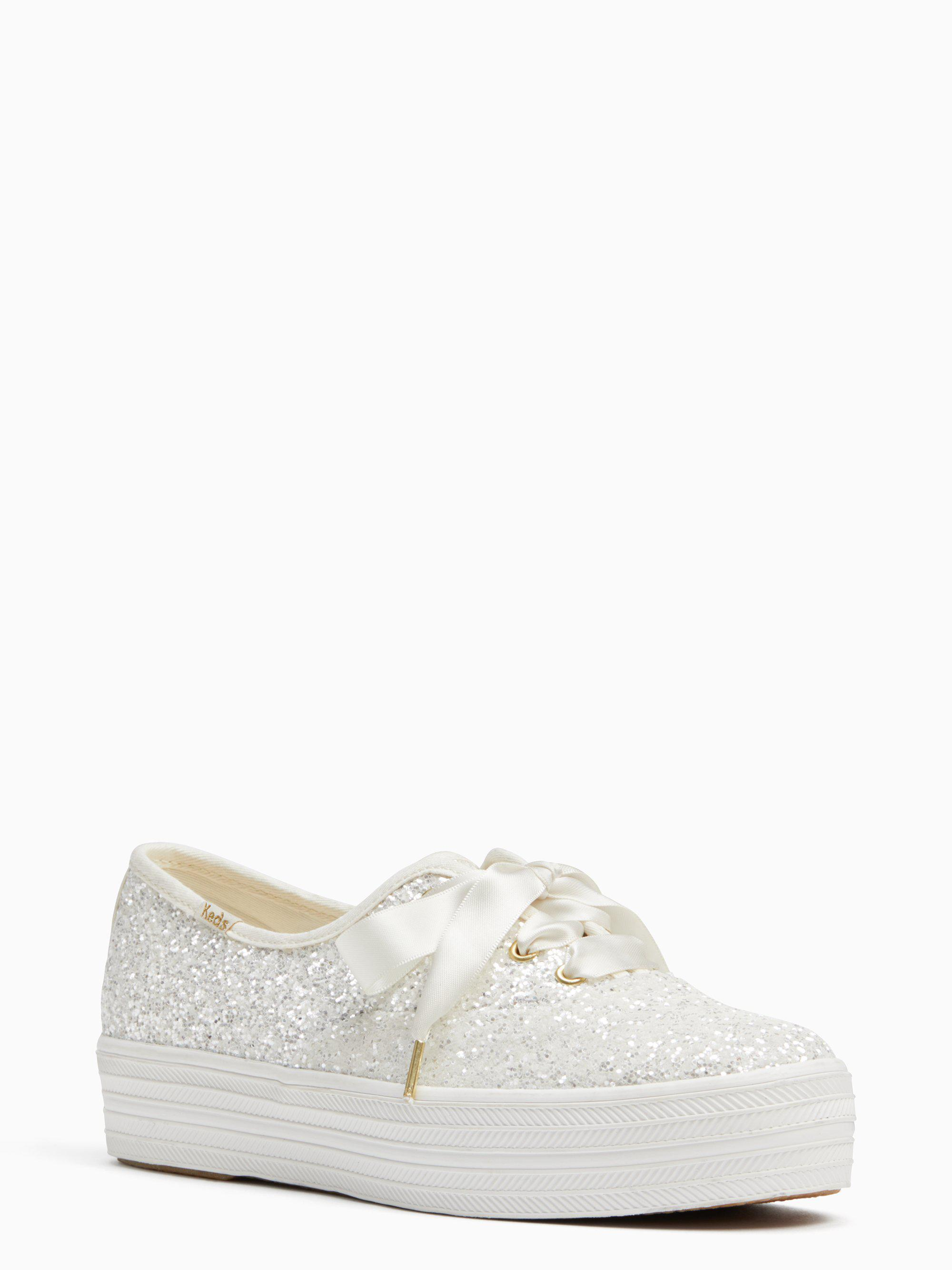 bcffff4bcde Lyst - Kate Spade Keds X New York Triple Glitter Sneakers in Natural