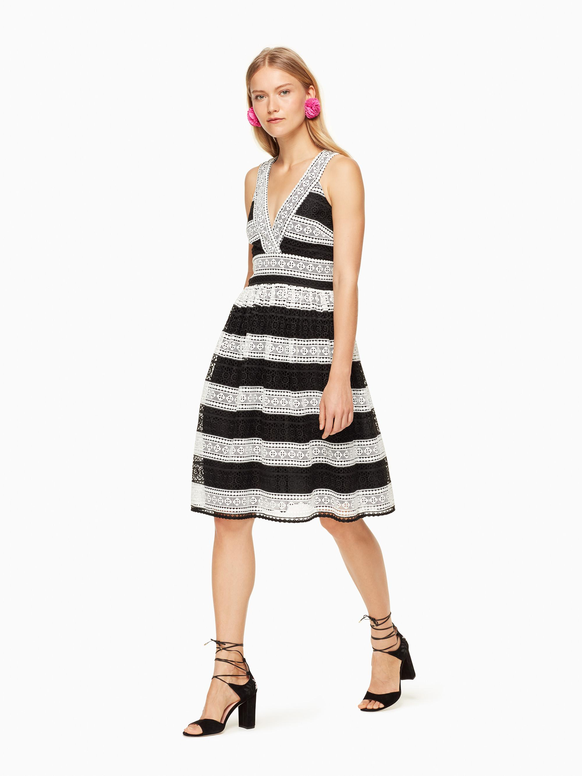 Lyst Kate Spade New York Colorblock Lace Dress In Black