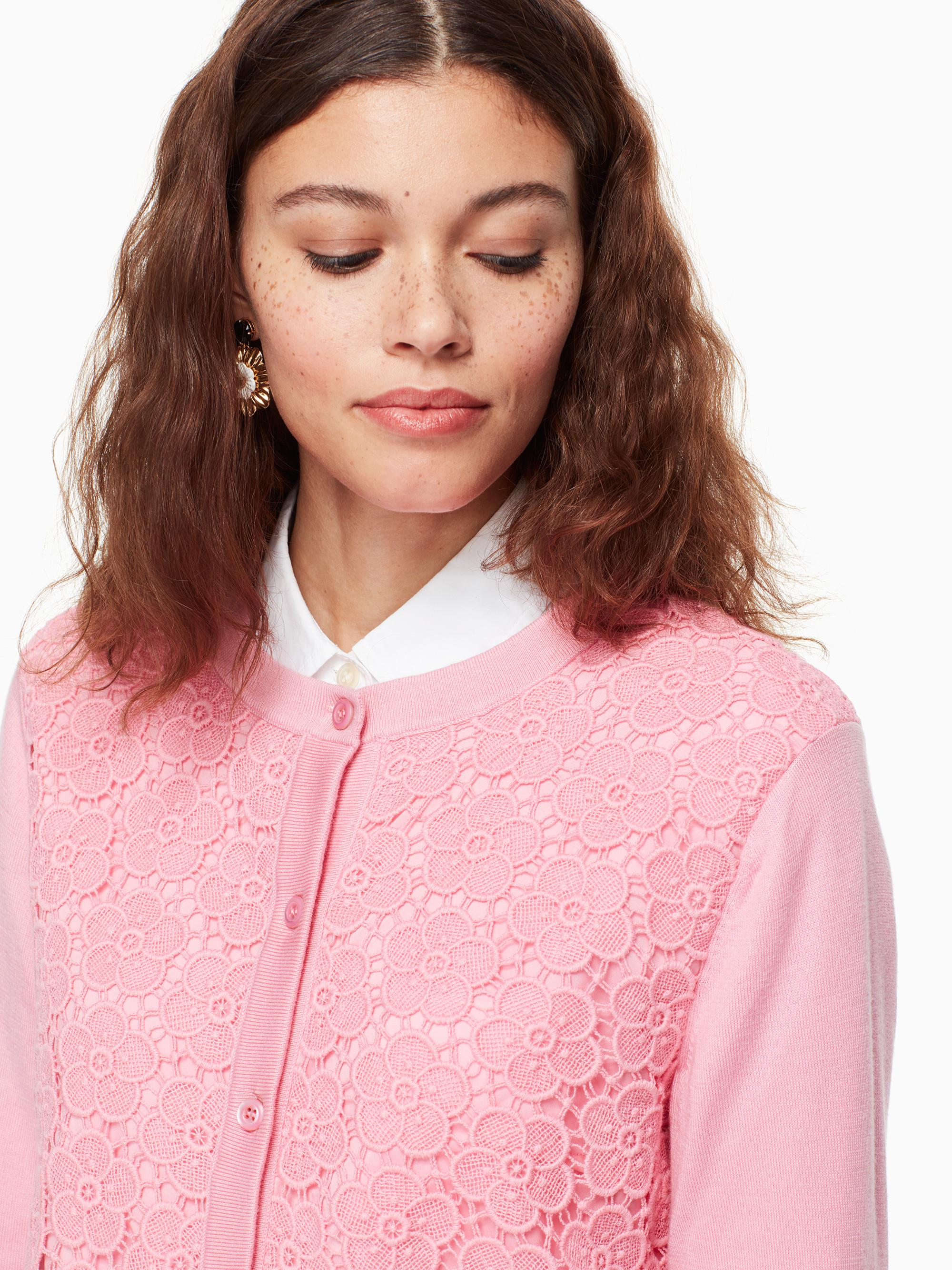 5558f1757ae0f7 Kate Spade Bloom Floral Lace Cardigan in Pink - Lyst