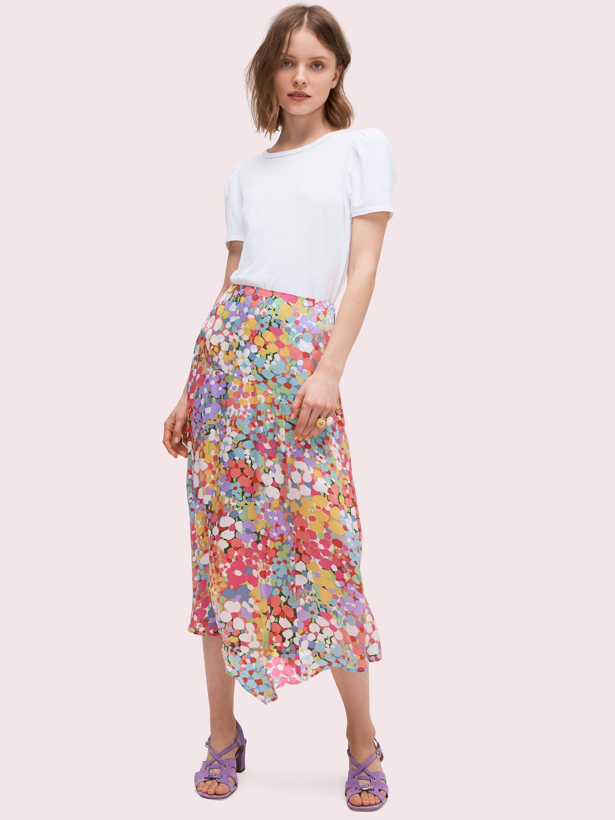f271b7920d Kate Spade Multicolor Floral Dots Silk Midi Skirt