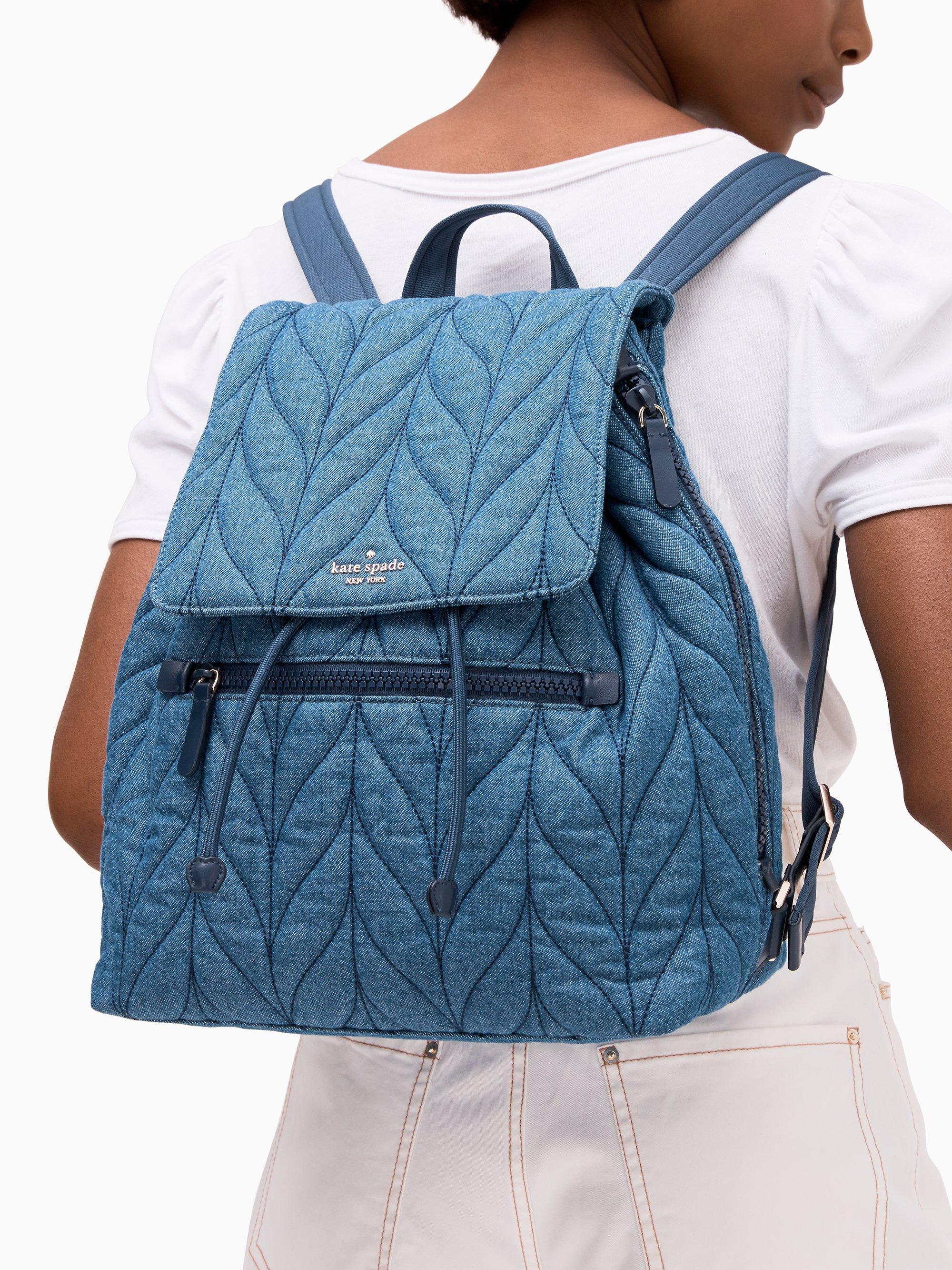 Kate Spade Ellie Denim Large Flap Backpack in Blue - Lyst