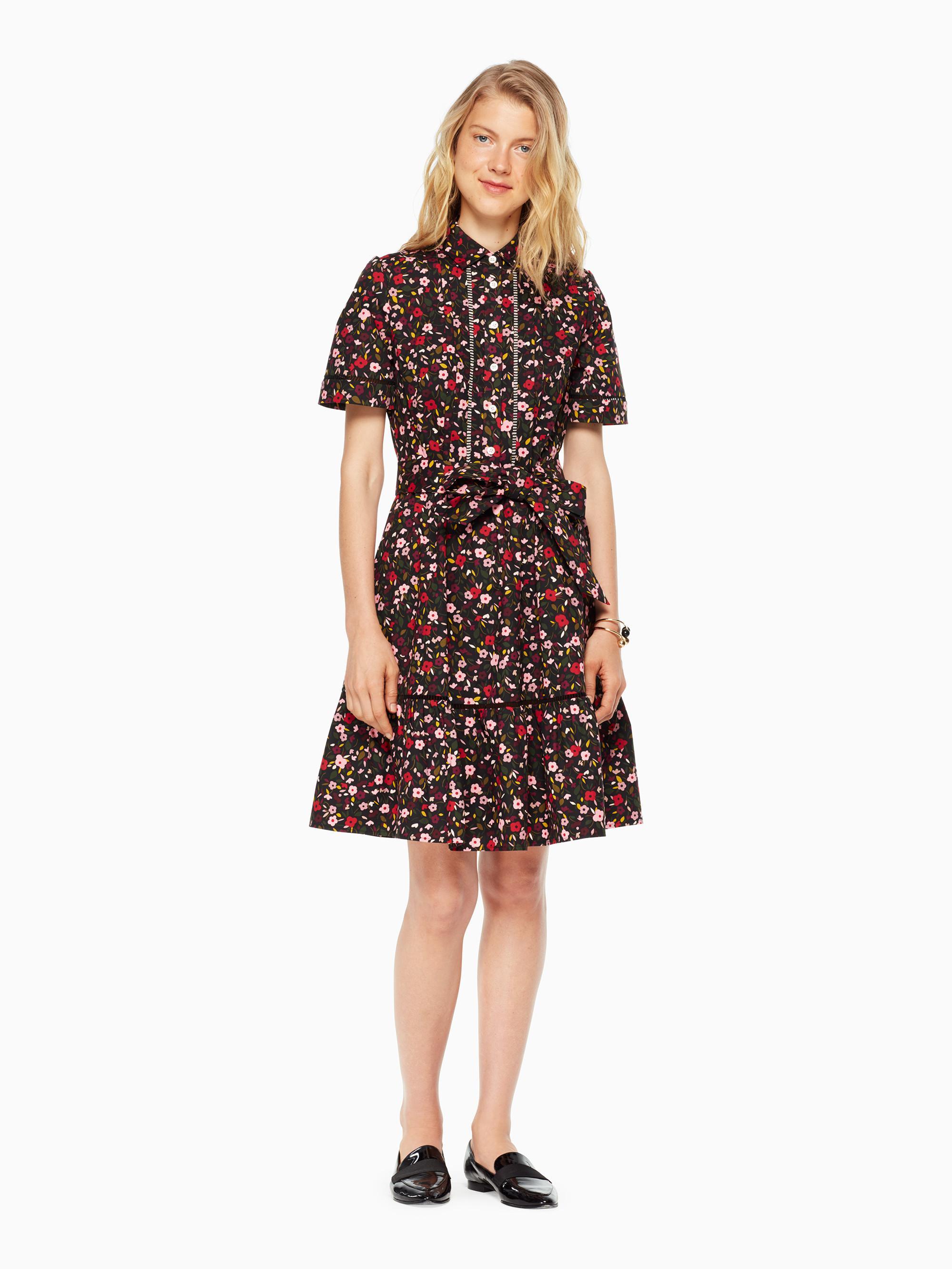 6249b613bac Lyst - Kate Spade Boho Floral Shirtdress in Black