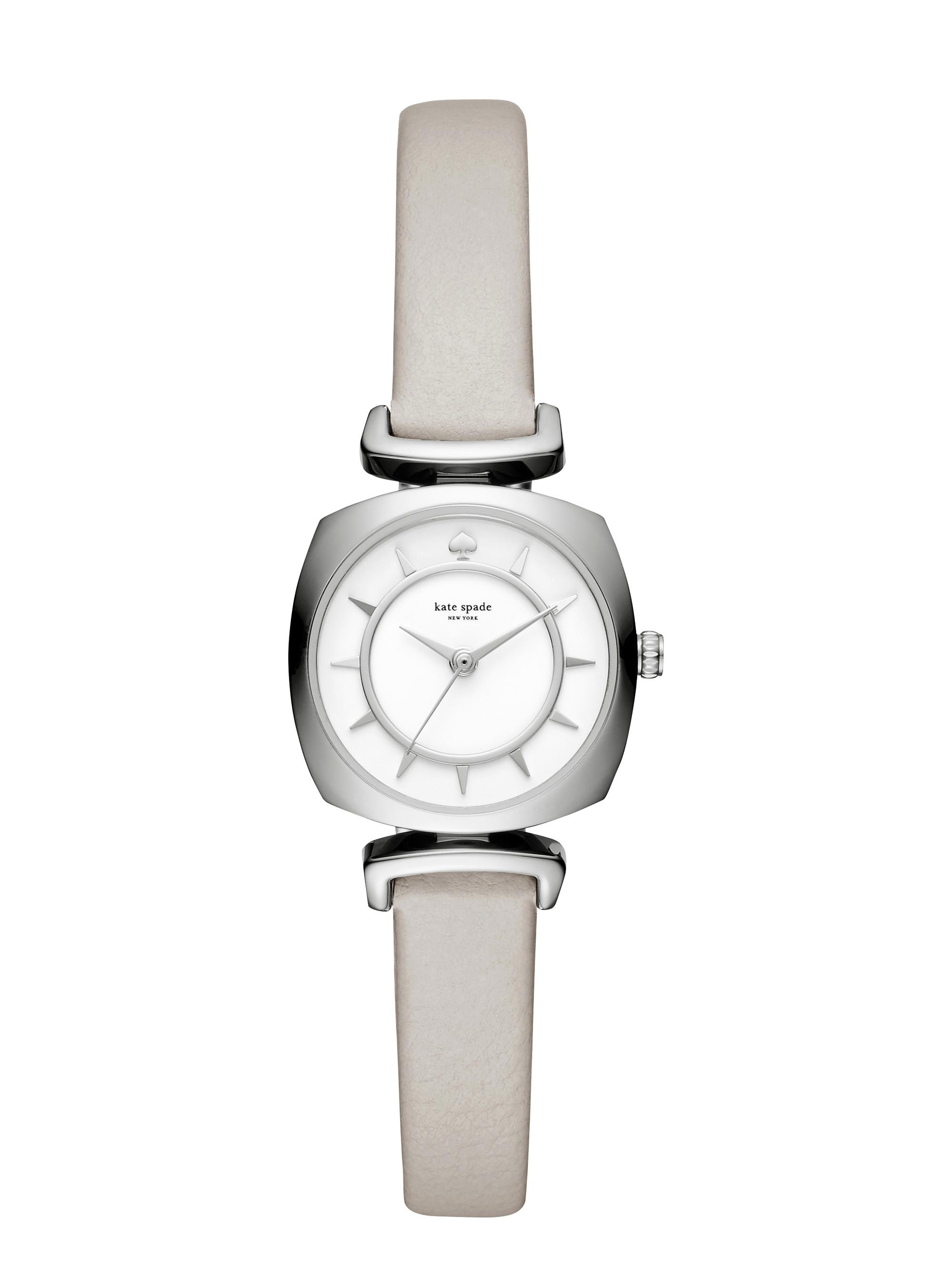 6ac819214 Kate Spade Clocktower Grey Mini Barrow Watch in Gray - Lyst