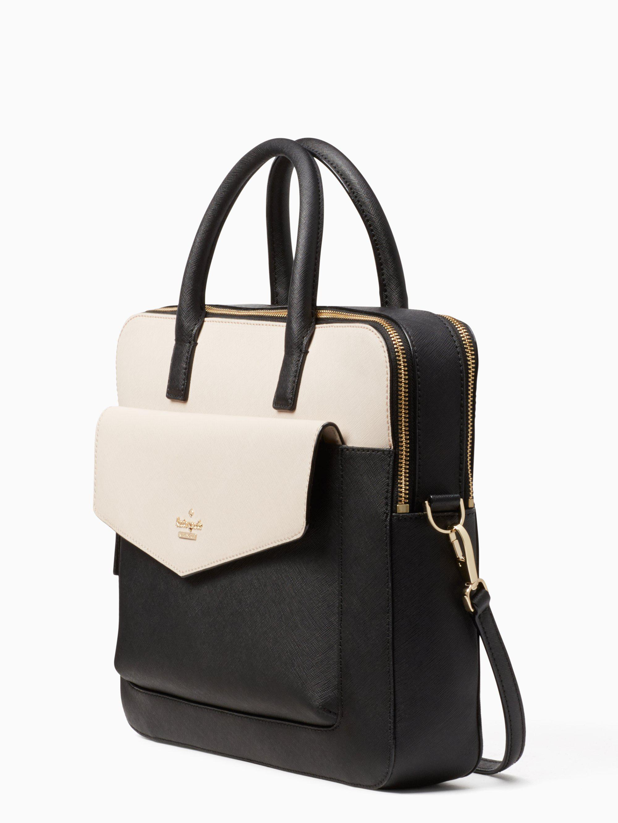 Kate Spade Leather 13 Inch Double Zip Laptop Bag In Black