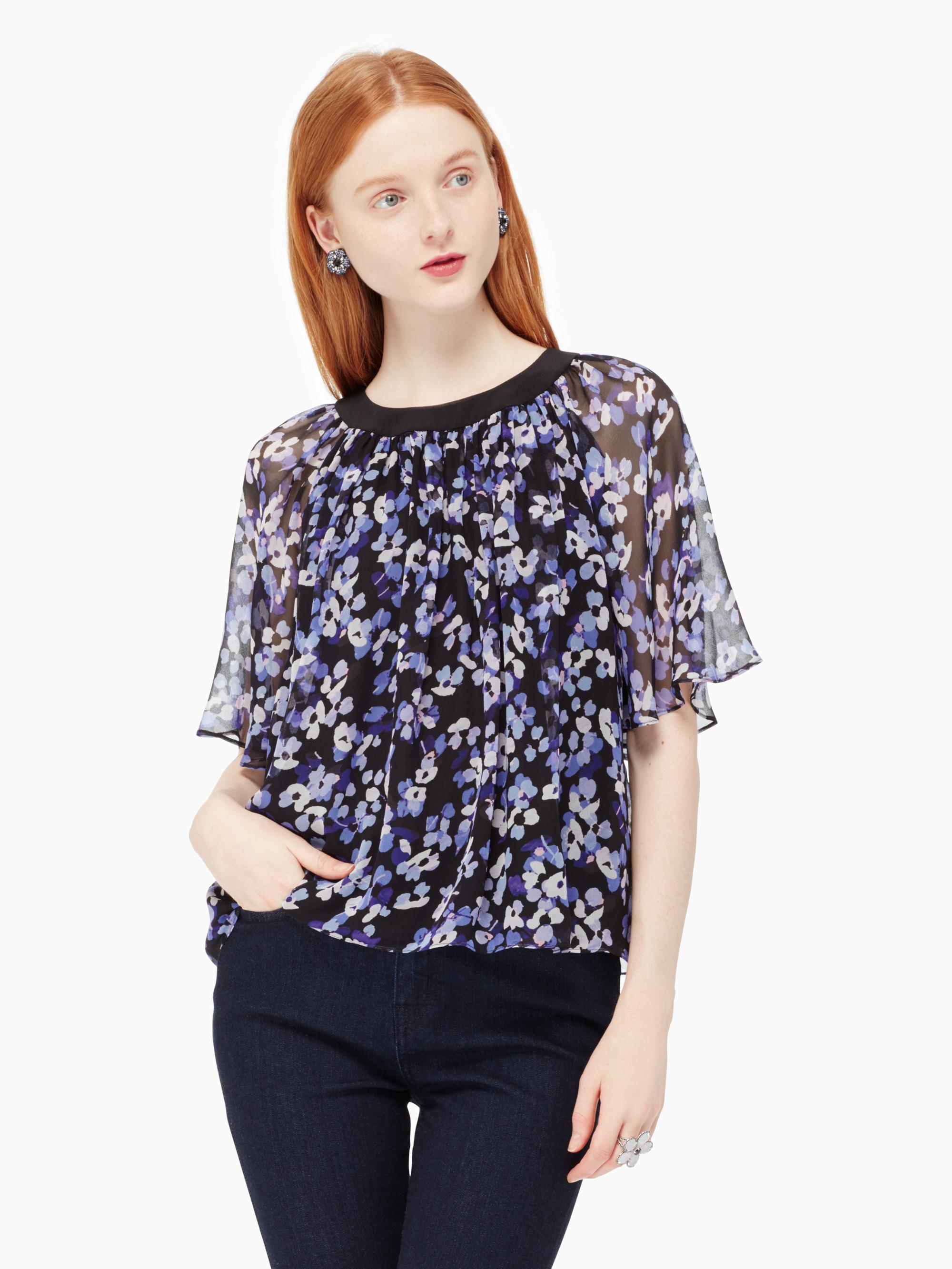Lyst kate spade new york hydrangea chiffon top in black for Best dress shirts nyc
