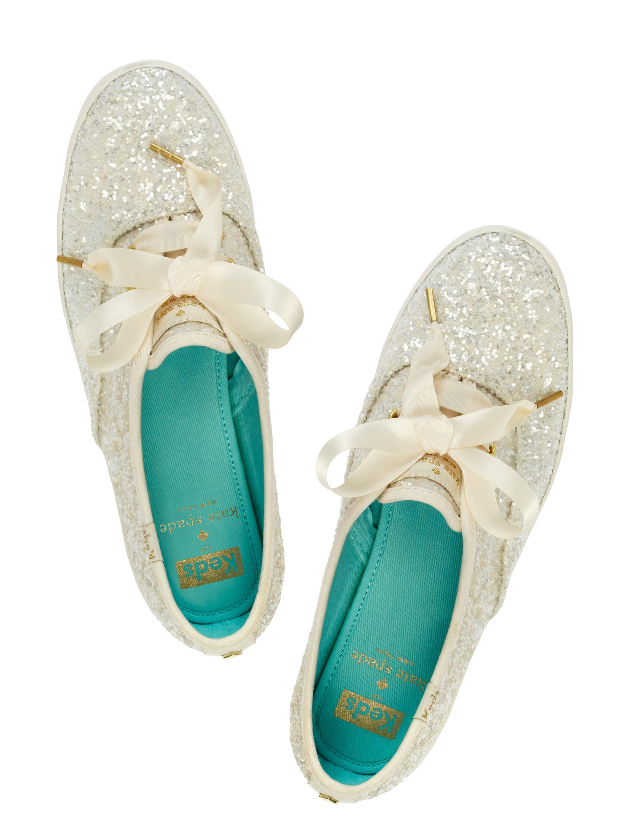 5ef8b4198b Lyst - Kate Spade Keds For Glitter Sneakers in White