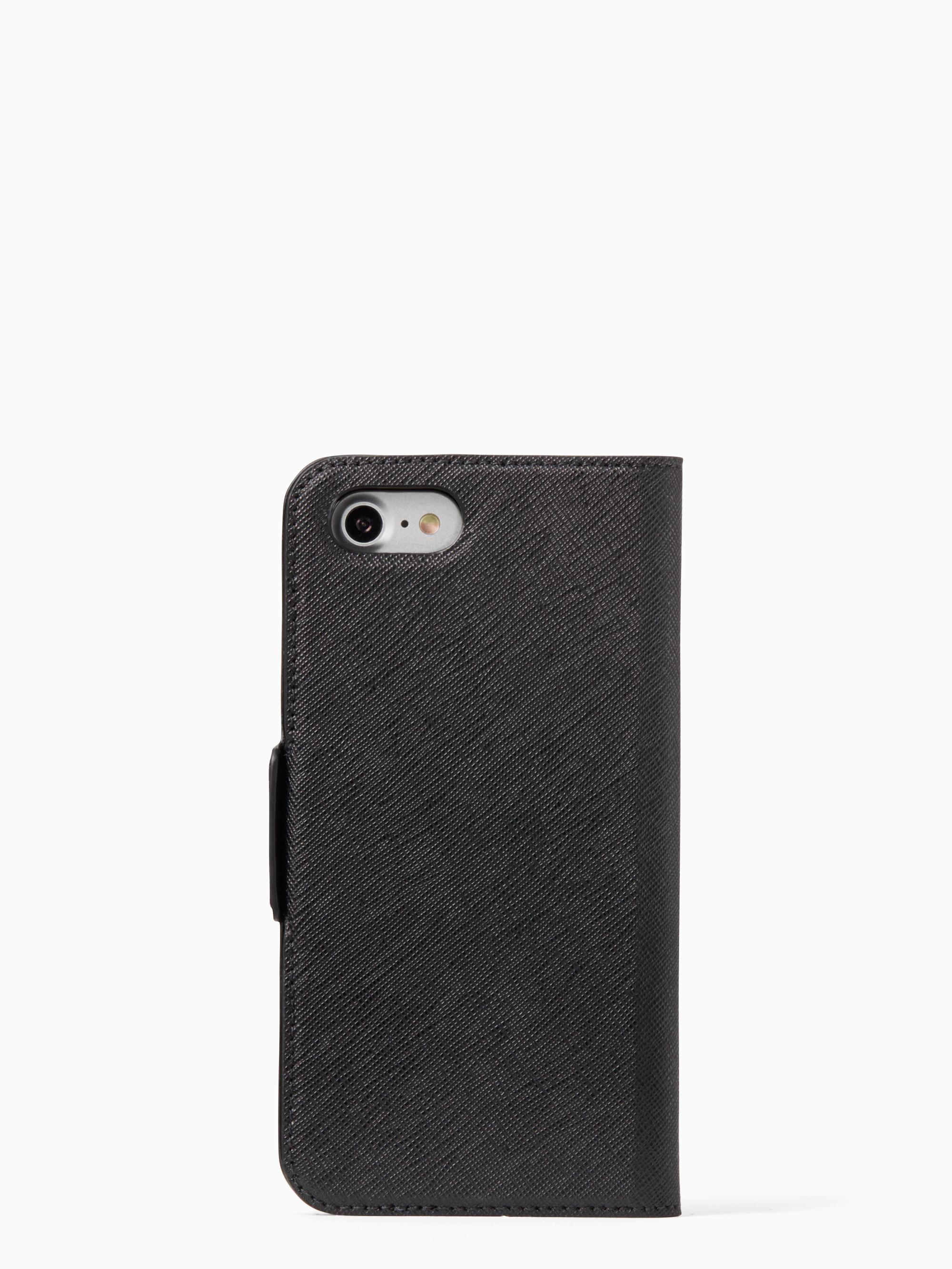 wholesale dealer 457c2 44fbb Kate Spade Black Antoine Applique Folio Iphone 7 Case