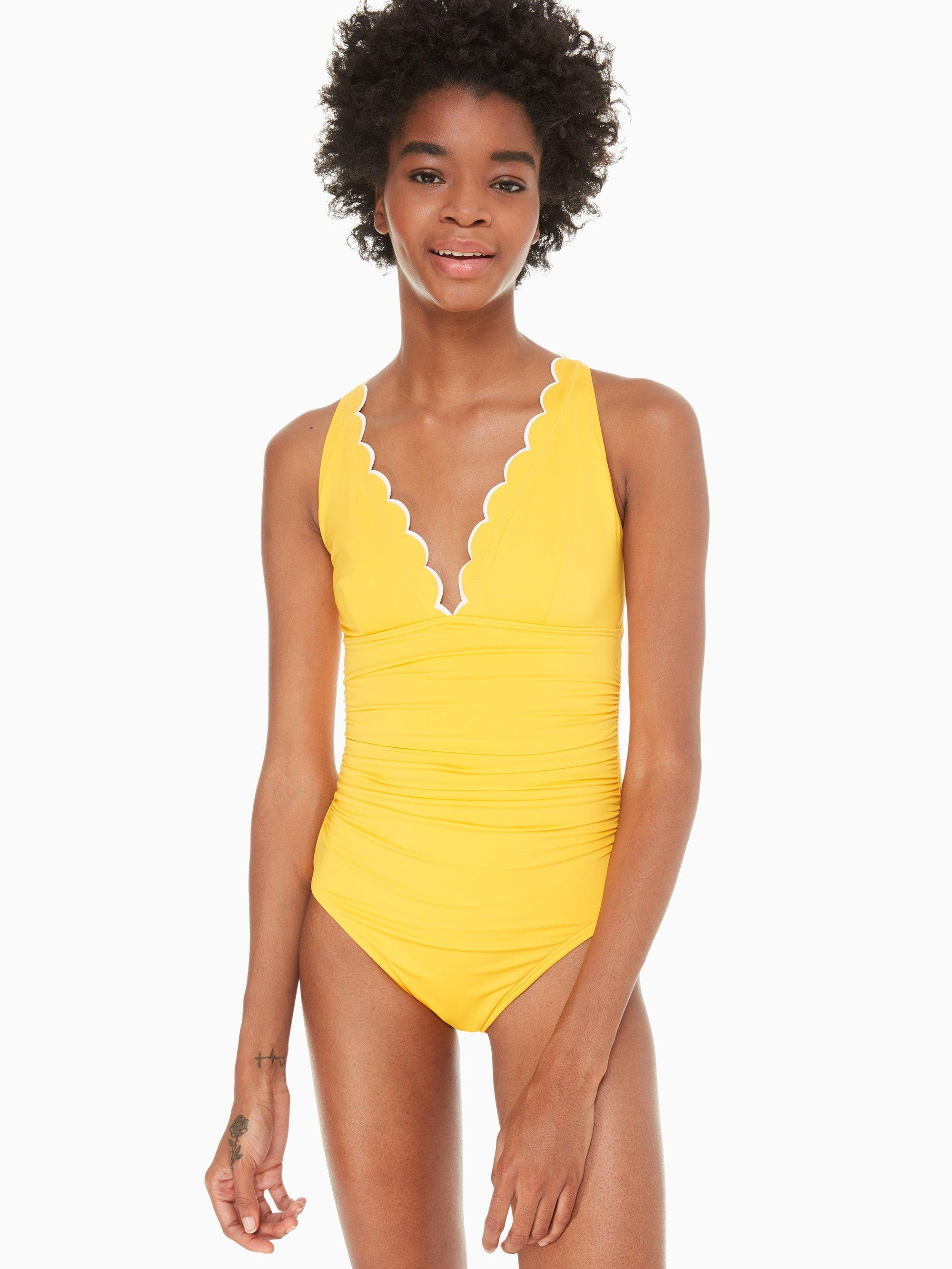 c169737162c91 Kate Spade. Women's Yellow Fort Tilden Contrast Scalloped Plunge One-piece