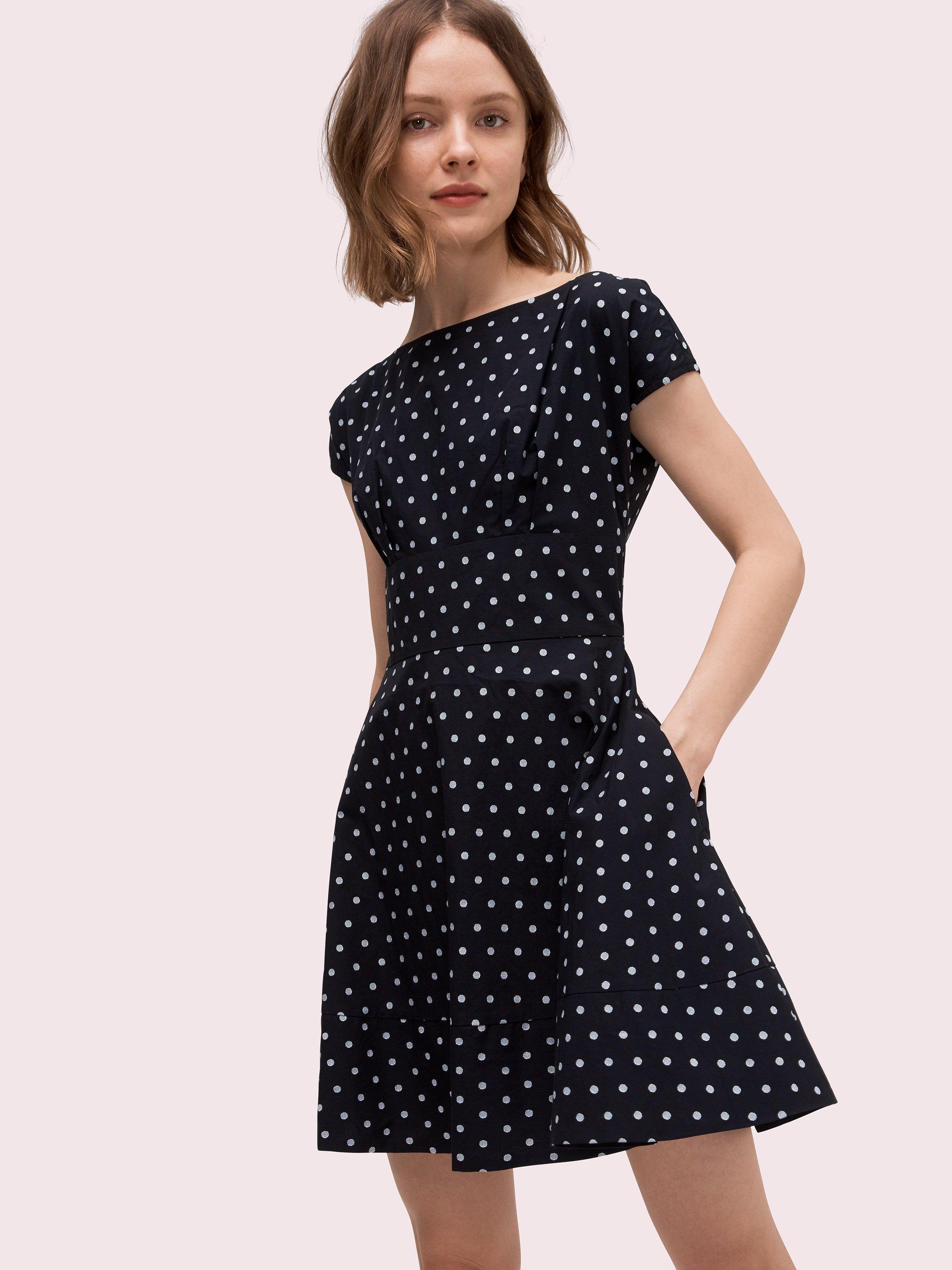 0f5f411c23af Lyst - Kate Spade Dot Cotton Fiorella Dress in Black