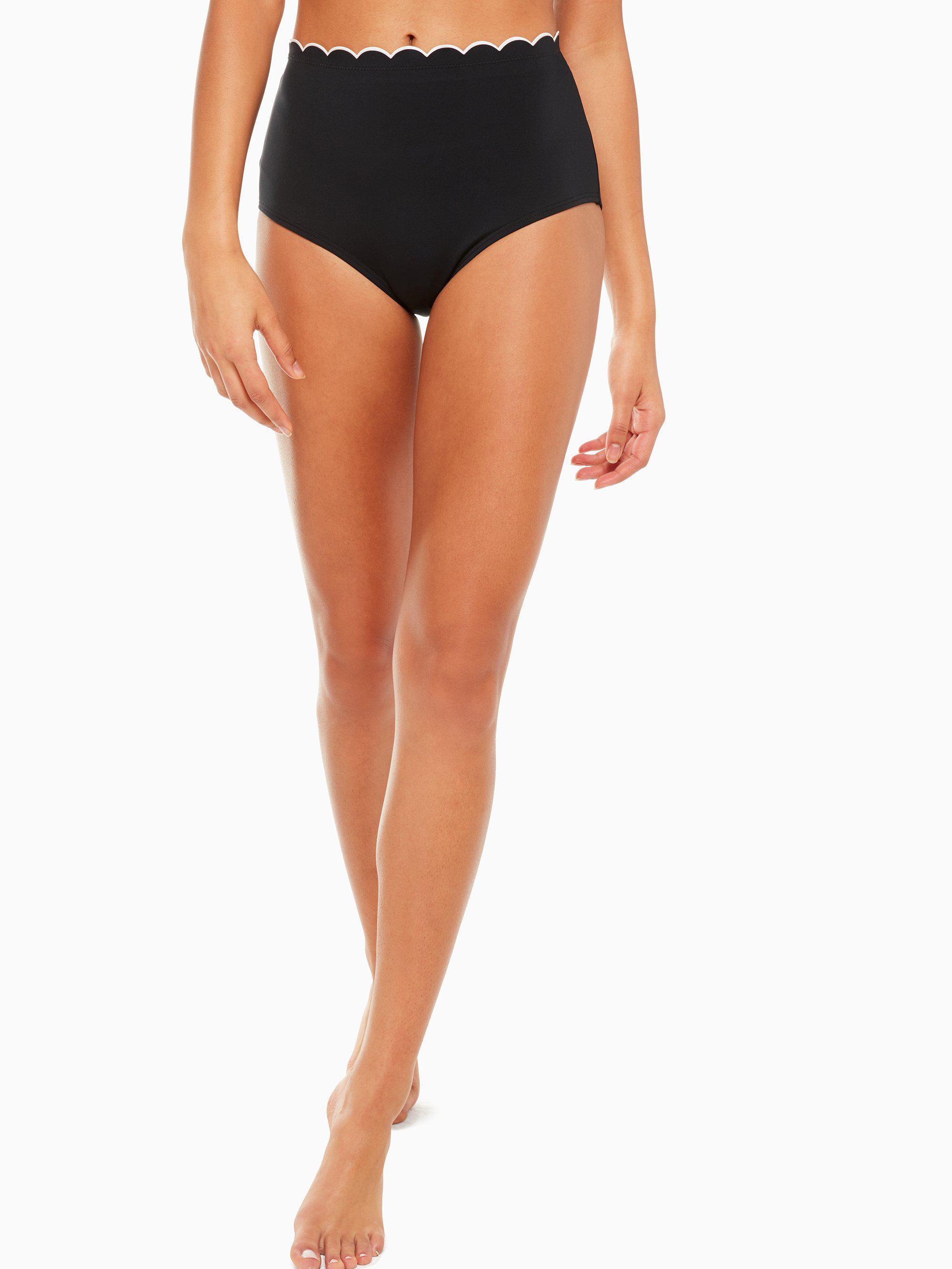 6e529f19ff1ee Kate Spade. Women s Black Fort Tilden Contrast Scalloped High Waist Bikini  Bottom.  80 From kate spade new york