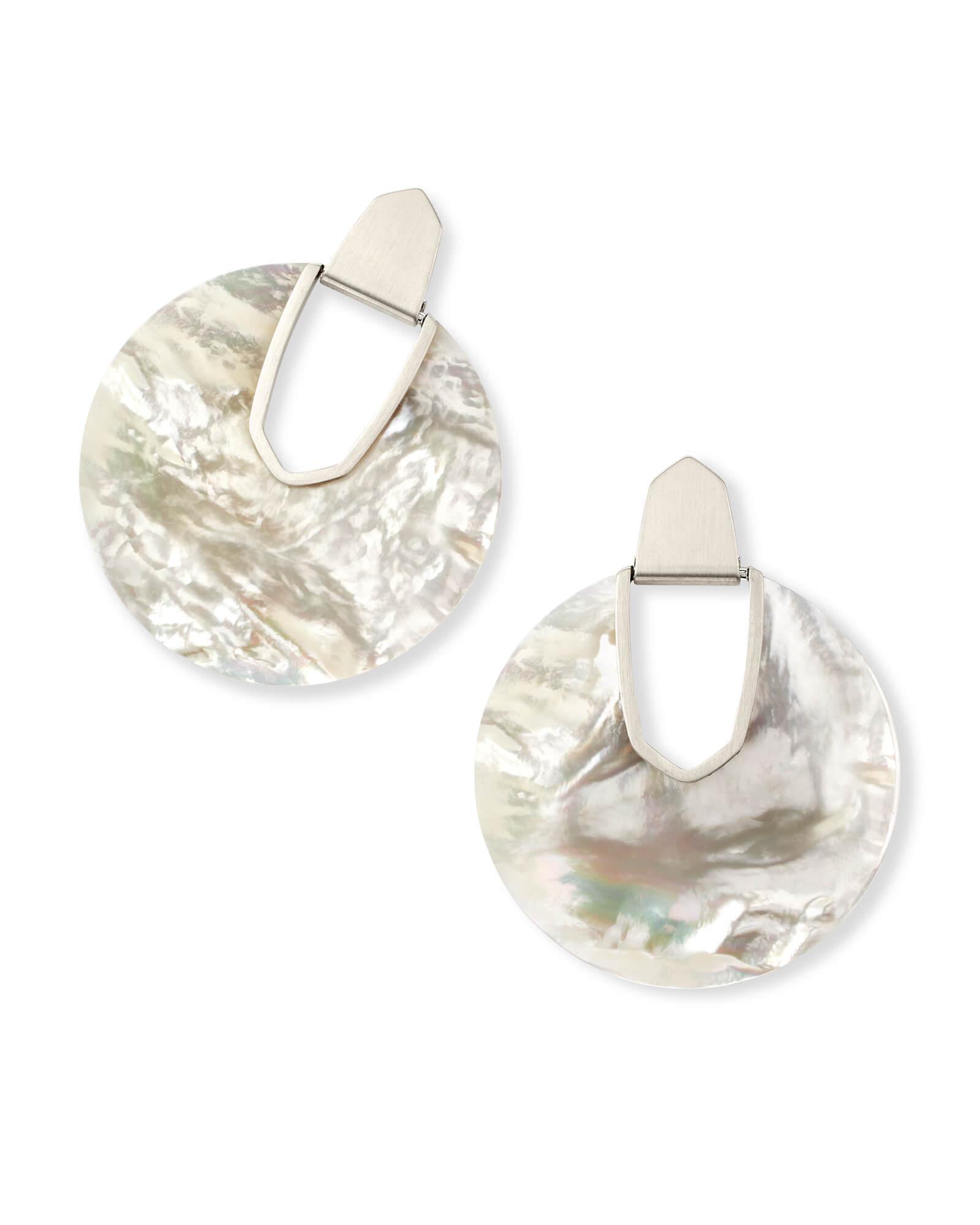 11ac2f2359ae4 Kendra Scott Metallic Diane Silver Statement Earrings In Ivory Mother Of  Pearl