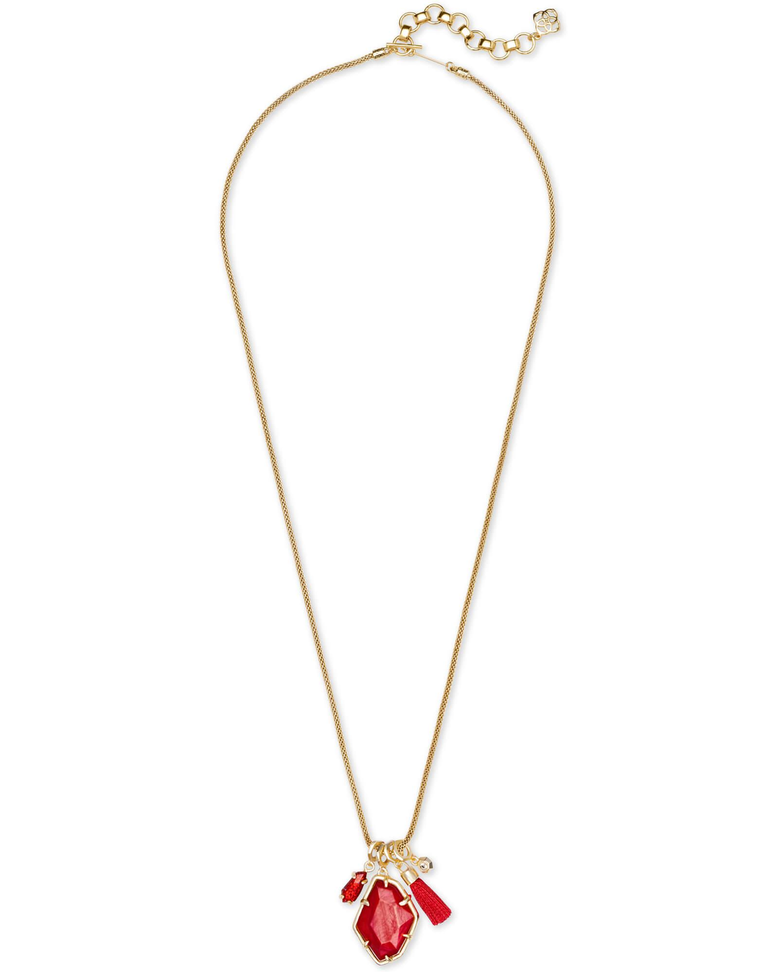 ed6d8aa2c Lyst - Kendra Scott Hailey Gold Long Pendant Necklace In Red Mother Of  Pearl in Metallic
