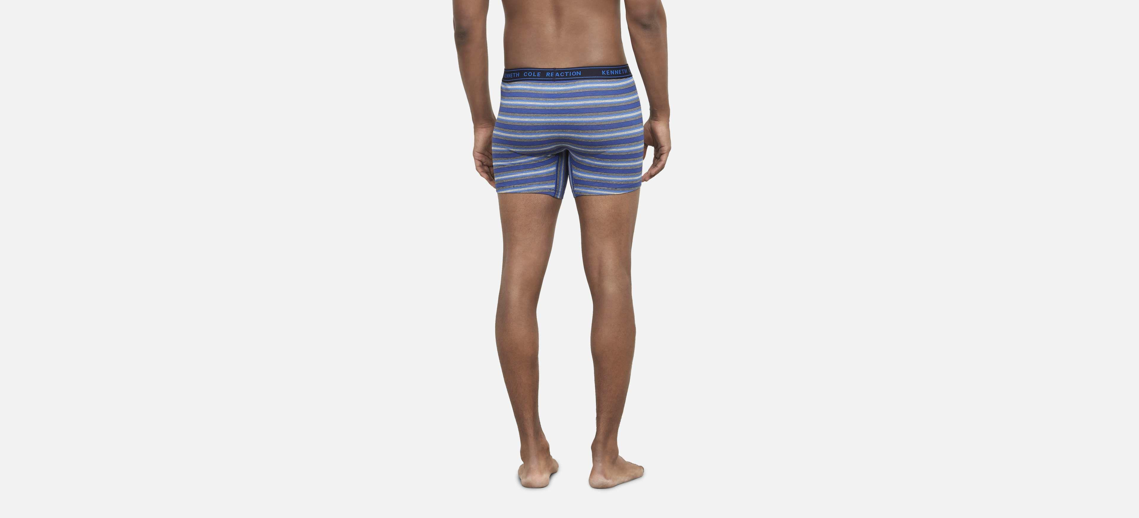 abc87b59745c7b Kenneth Cole Reaction - Blue Men's Stripe Knit Boxer 3-pack With Cotton  Stretch for. View fullscreen