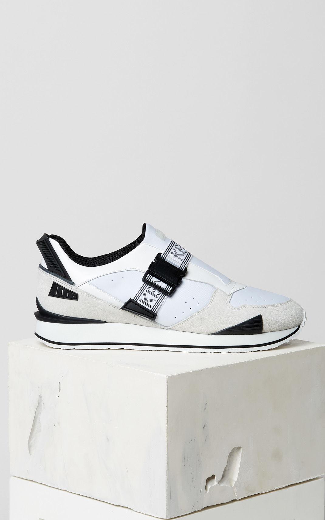 KENZO Leather K-run Sneakers in White
