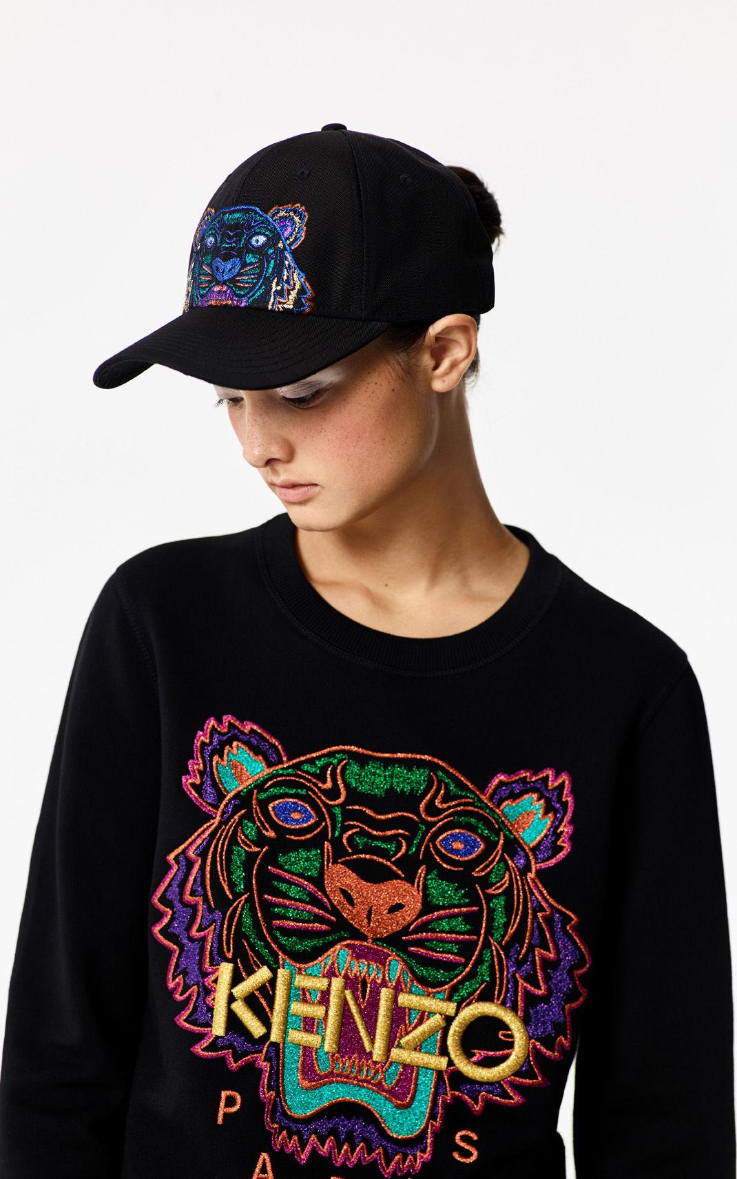 45e28a52 KENZO Black 'holiday Capsule Collection' Embroidered Tiger Sweatshirt