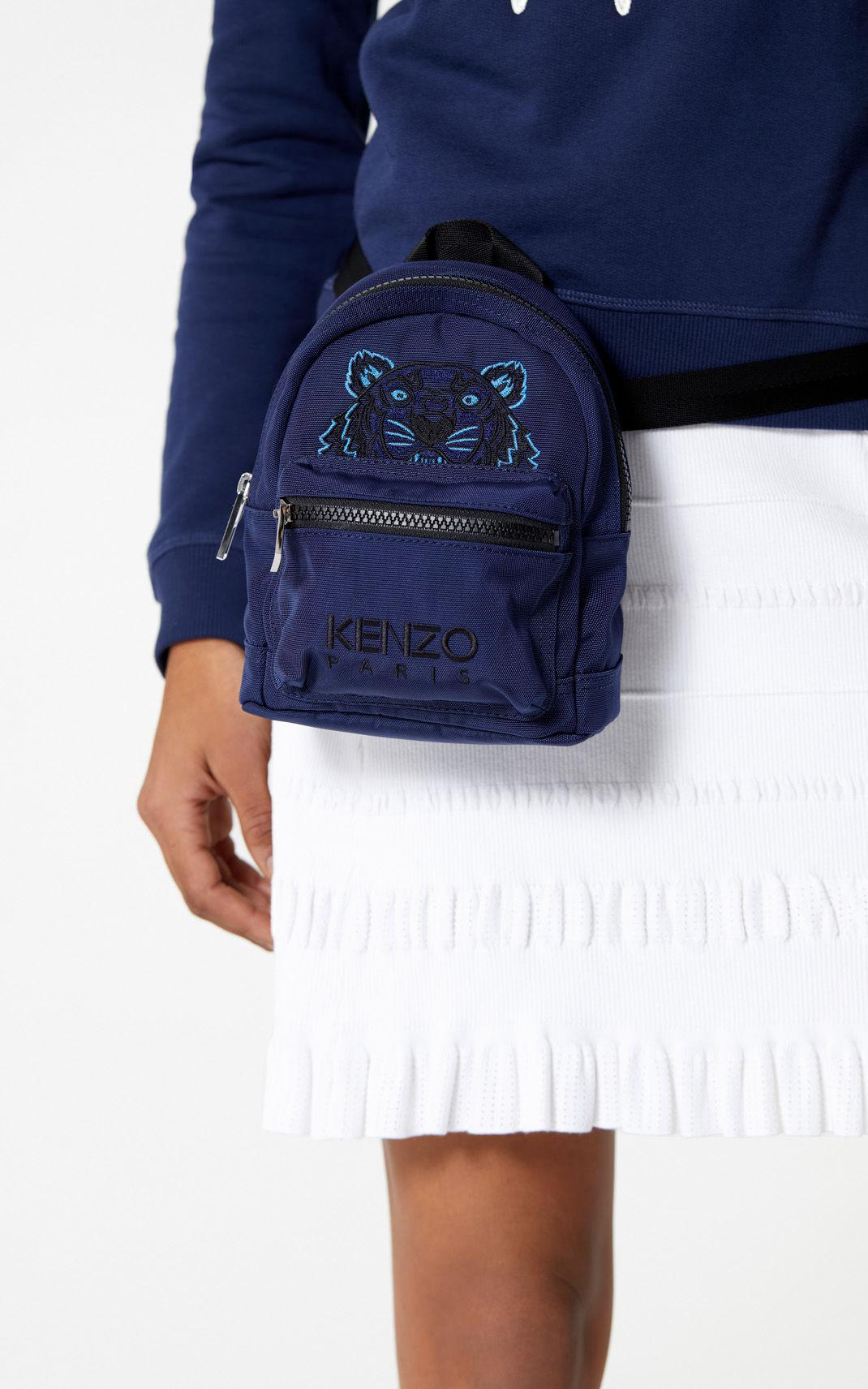 b7618eb7452 KENZO Blue Mini Tiger Canvas Backpack