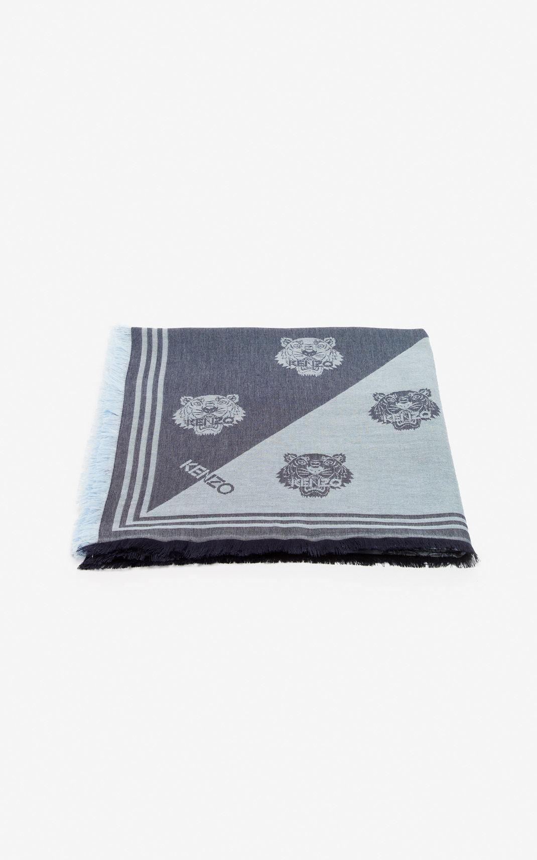 aed01463cc Men's Blue Large Two-tone Tiger Scarf