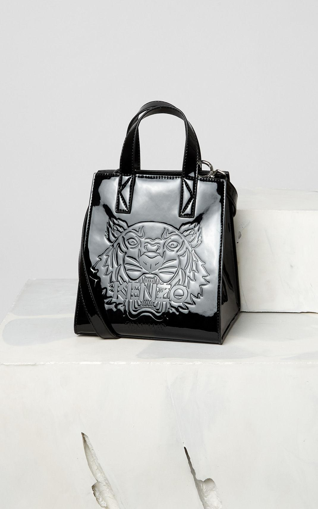 eafd187bef KENZO Black Mini Tiger Patent Tote Bag