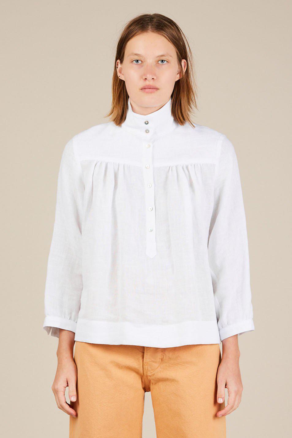 6c1b78c76ddad Lyst - Horses Atelier High Collar Blouse in White
