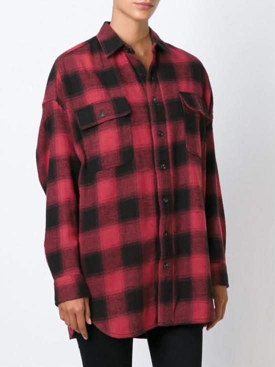 Lyst r13 oversized plaid shirt in red for Oversized red plaid shirt