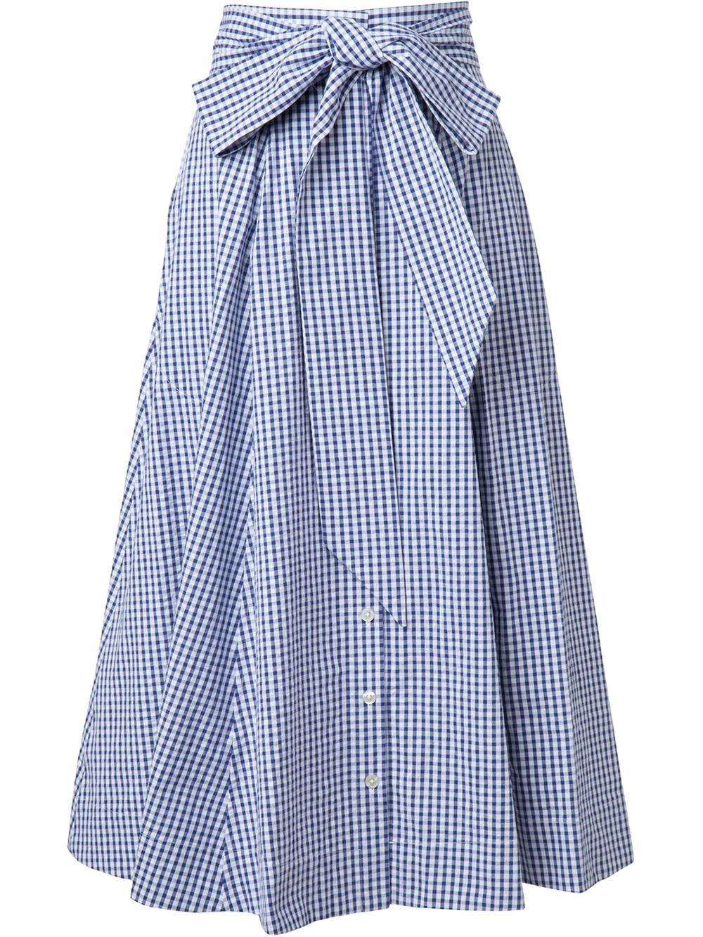 fernandez gingham check skirt navy in