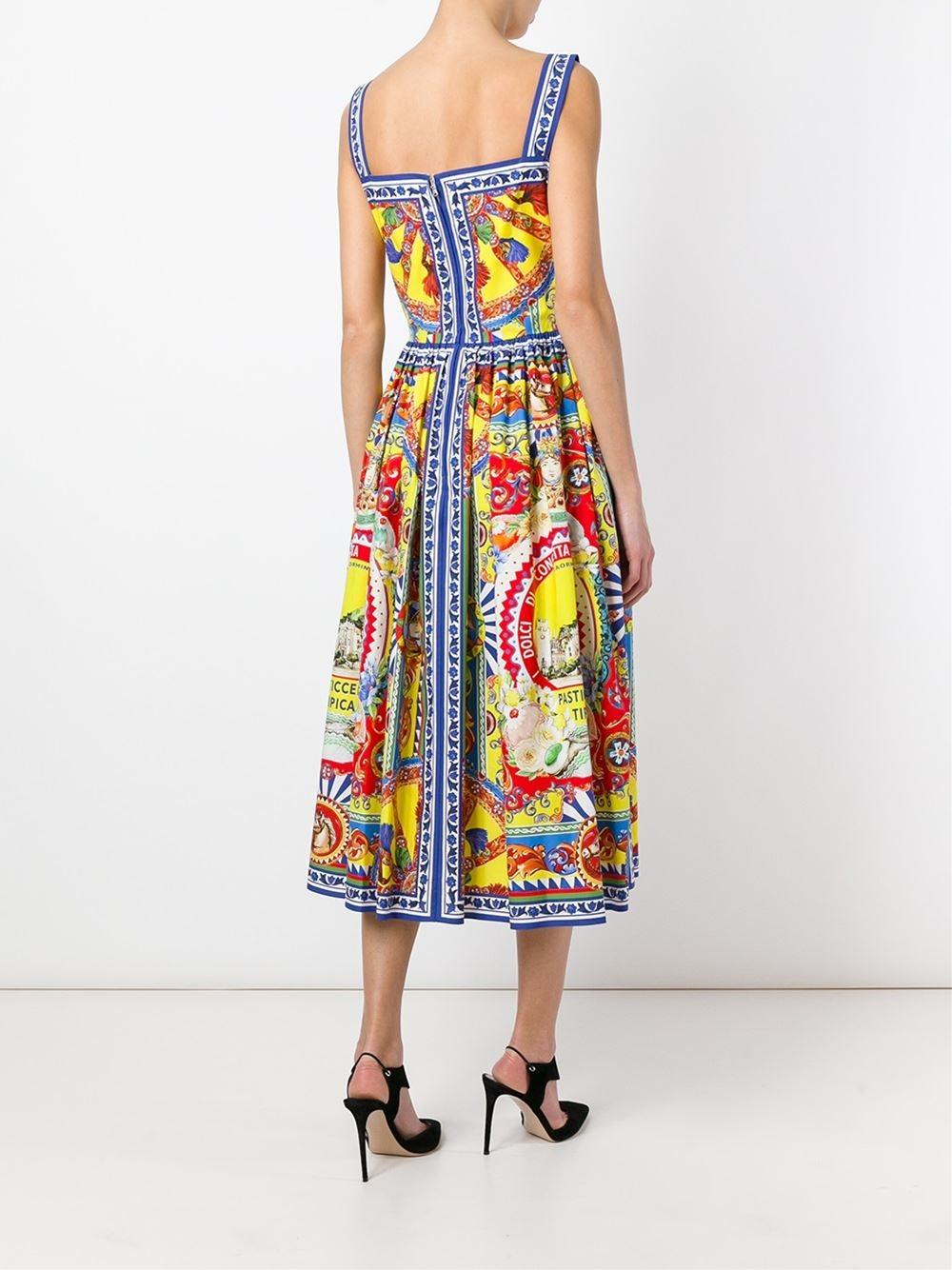 Dolce  amp  Gabbana Printed Flare Dress - Lyst 5e6d5fc2f578d