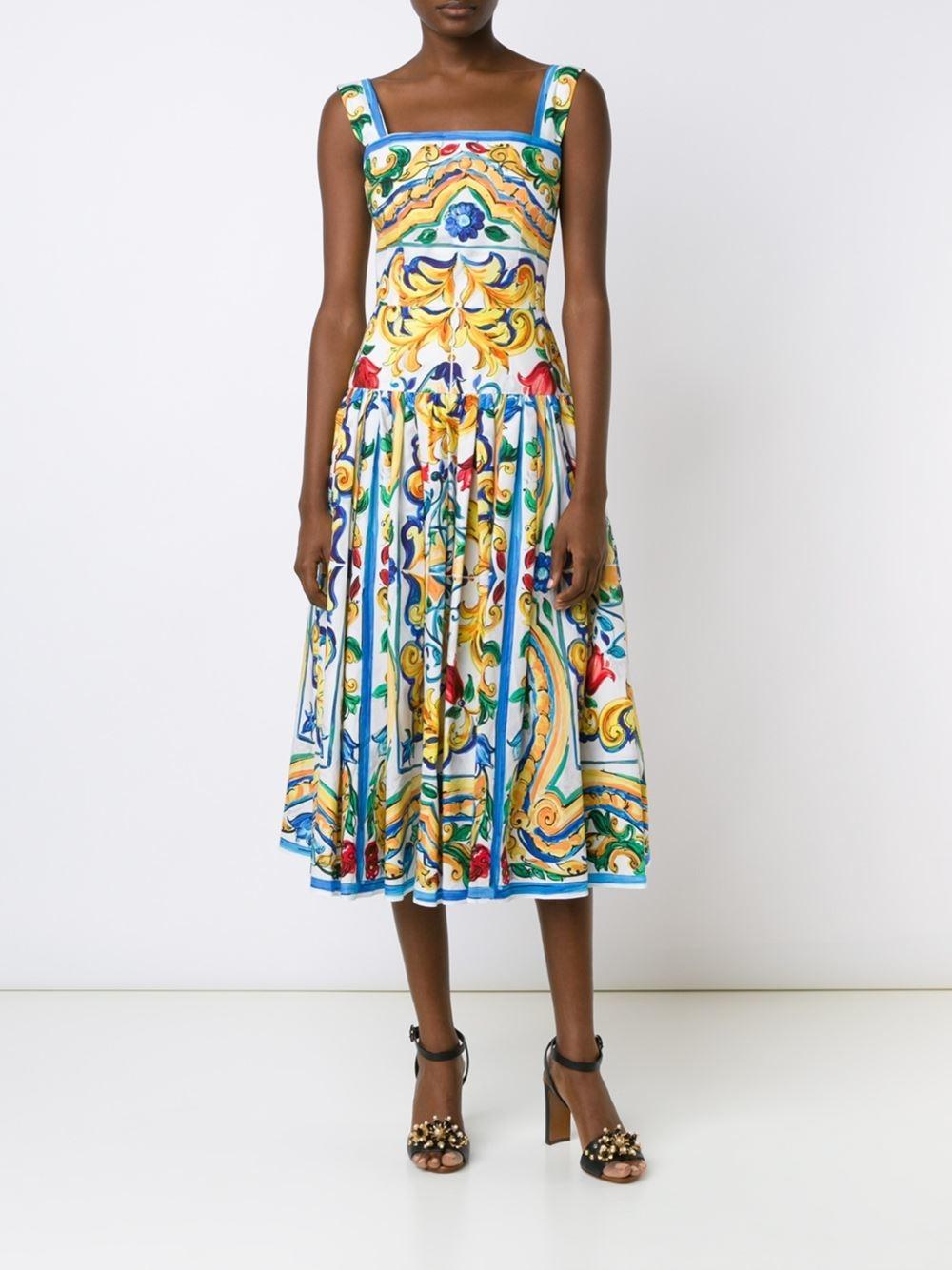 Dolce Amp Gabbana Tile Print Cotton Dress In Blue Lyst