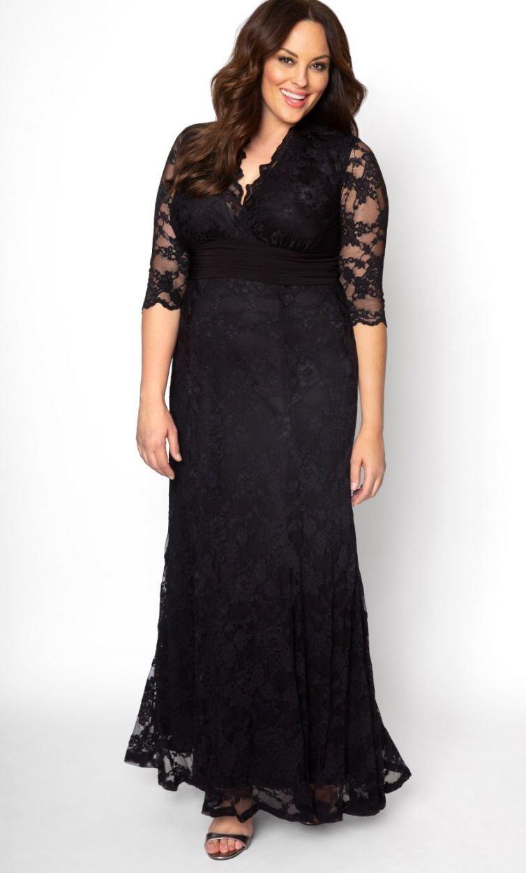 7814cb3598817 Lyst - Kiyonna Screen Siren Lace Gown in Black