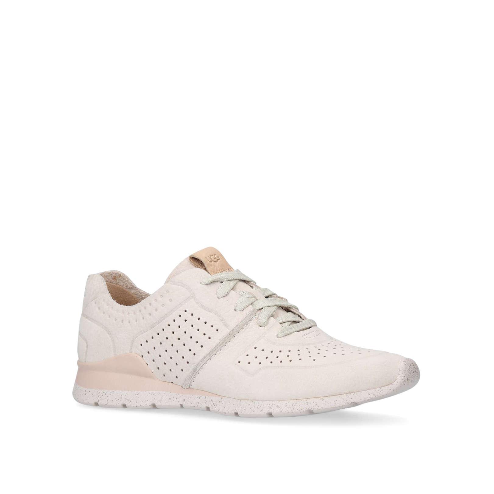 UGG Leather Tye No Heel Sneakers Winter Wht in White