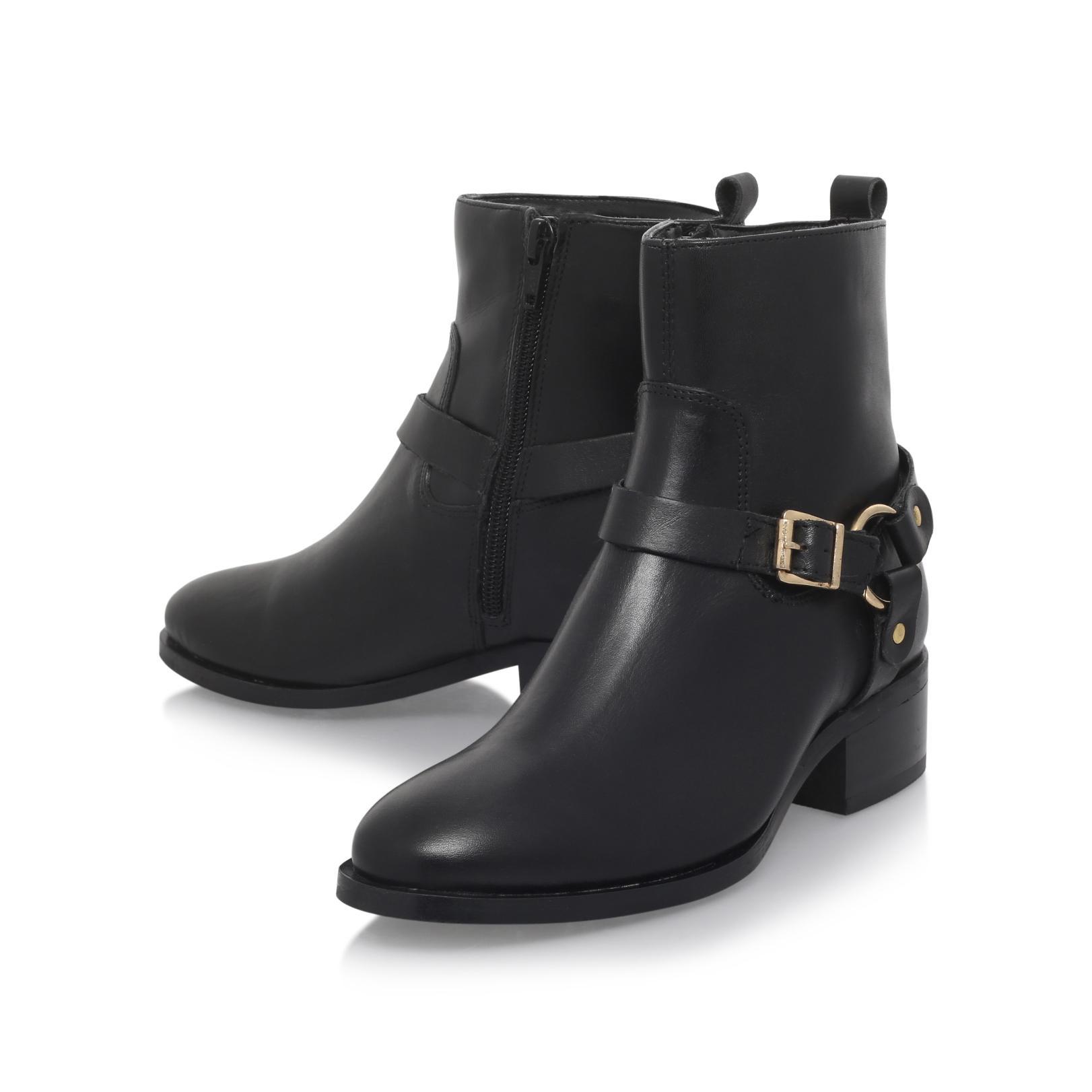 Carvela Kurt Geiger Leather Petro Flat Ankle Boots in Black