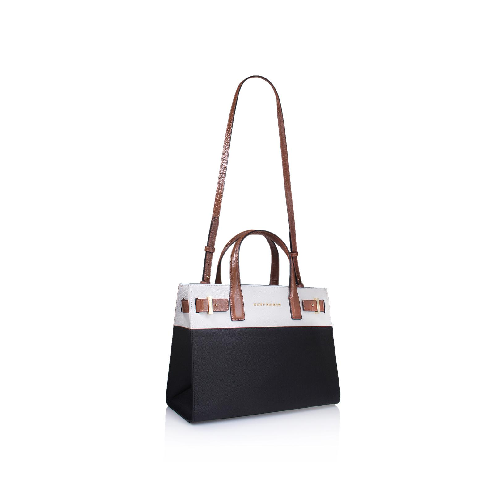 Kurt Geiger Leather New Saffiano London Tote In Black Combination