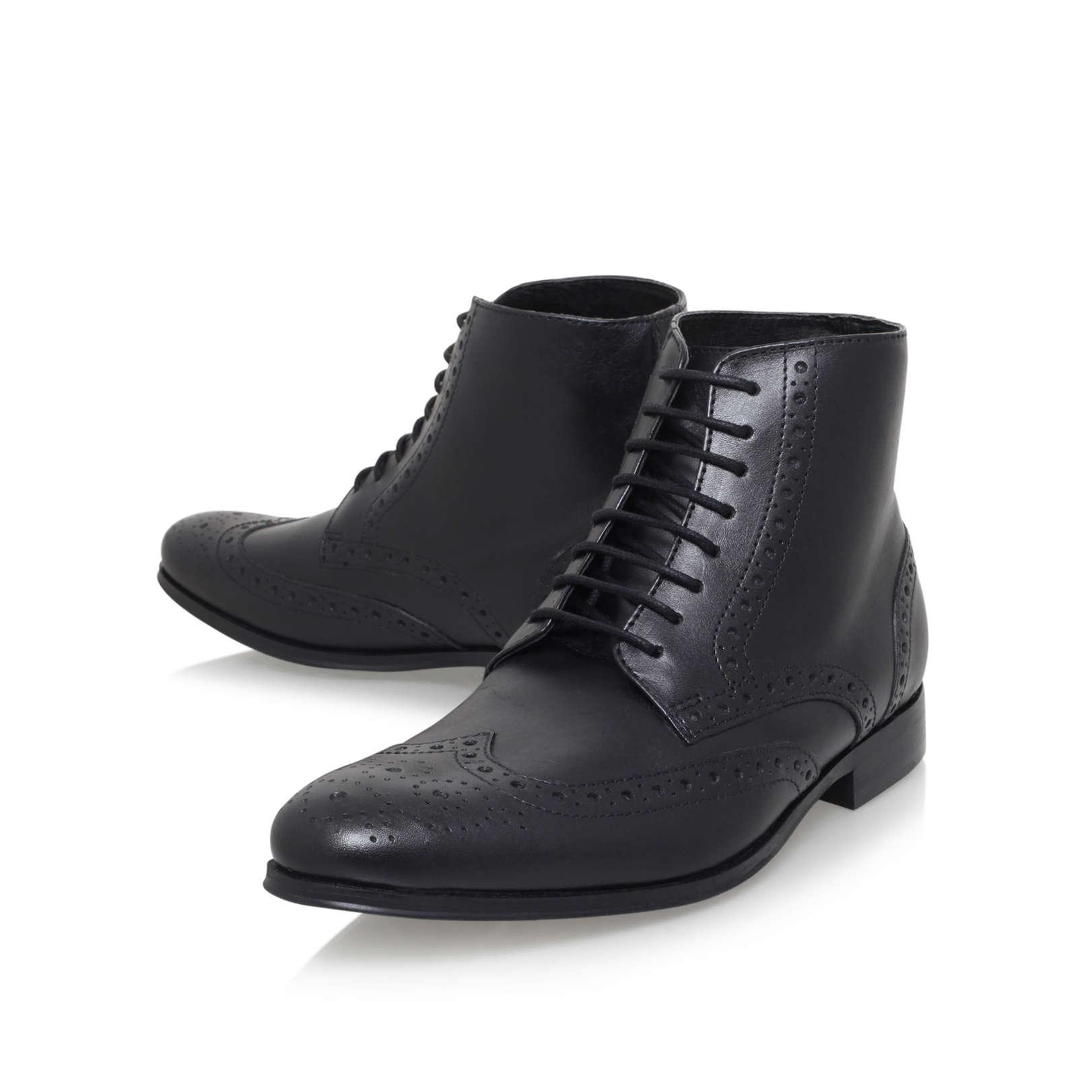 KG by Kurt Geiger Hove Black Leather Lace Up Boots for Men
