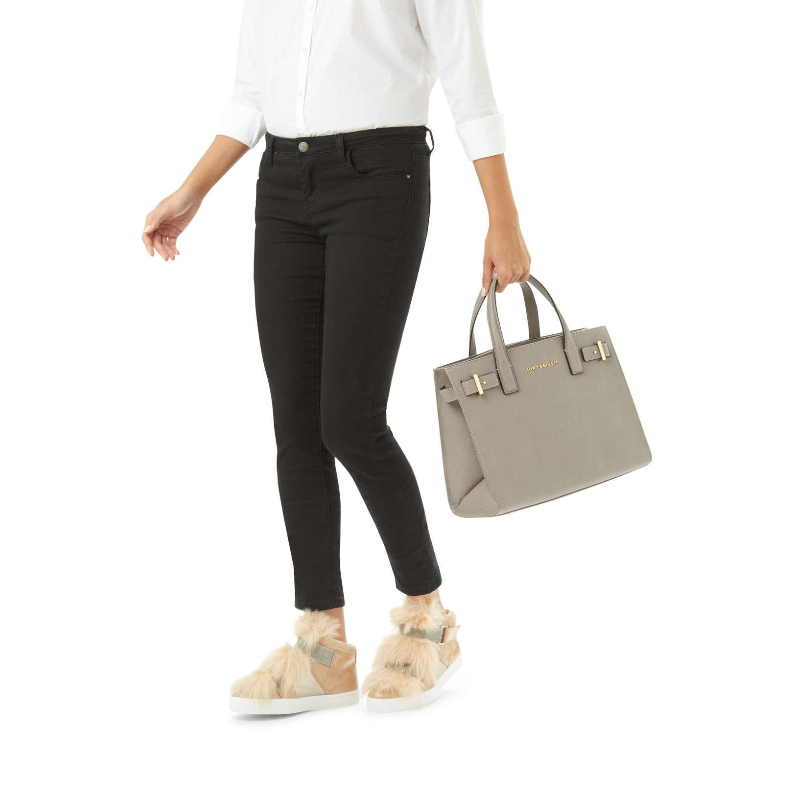 Kurt Geiger Leather Saffiano London Tote in Taupe (Brown)