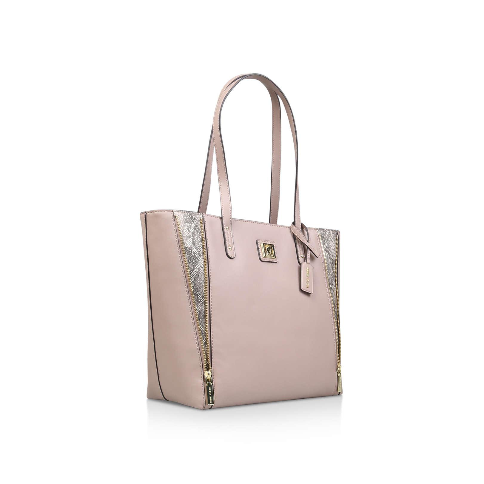 Anne Klein Leather Limitless Tote Handbags Nude in Natural