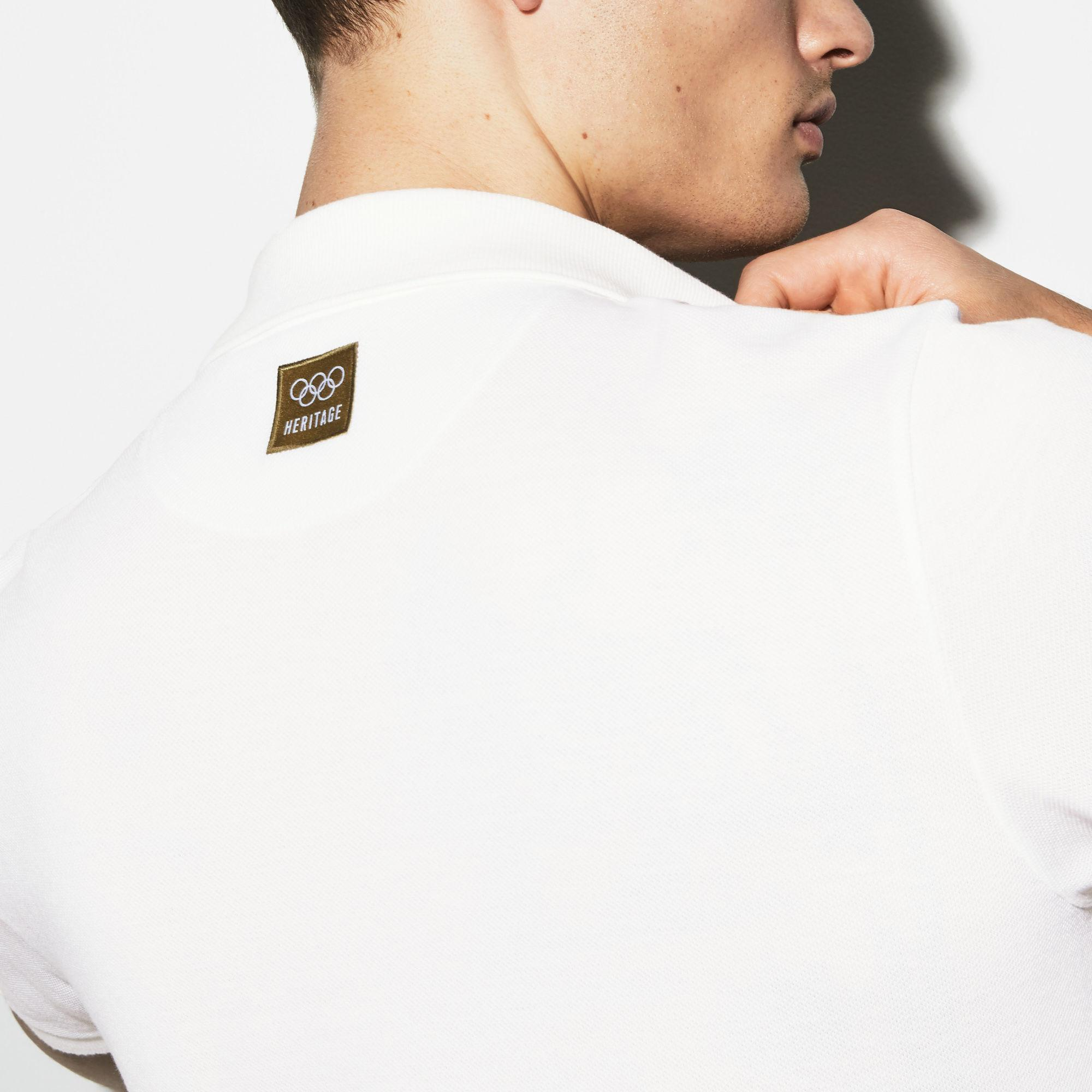 0d1c9e0094 Lacoste Olympic Heritage Collection Logo Cotton Polo in White for Men - Lyst