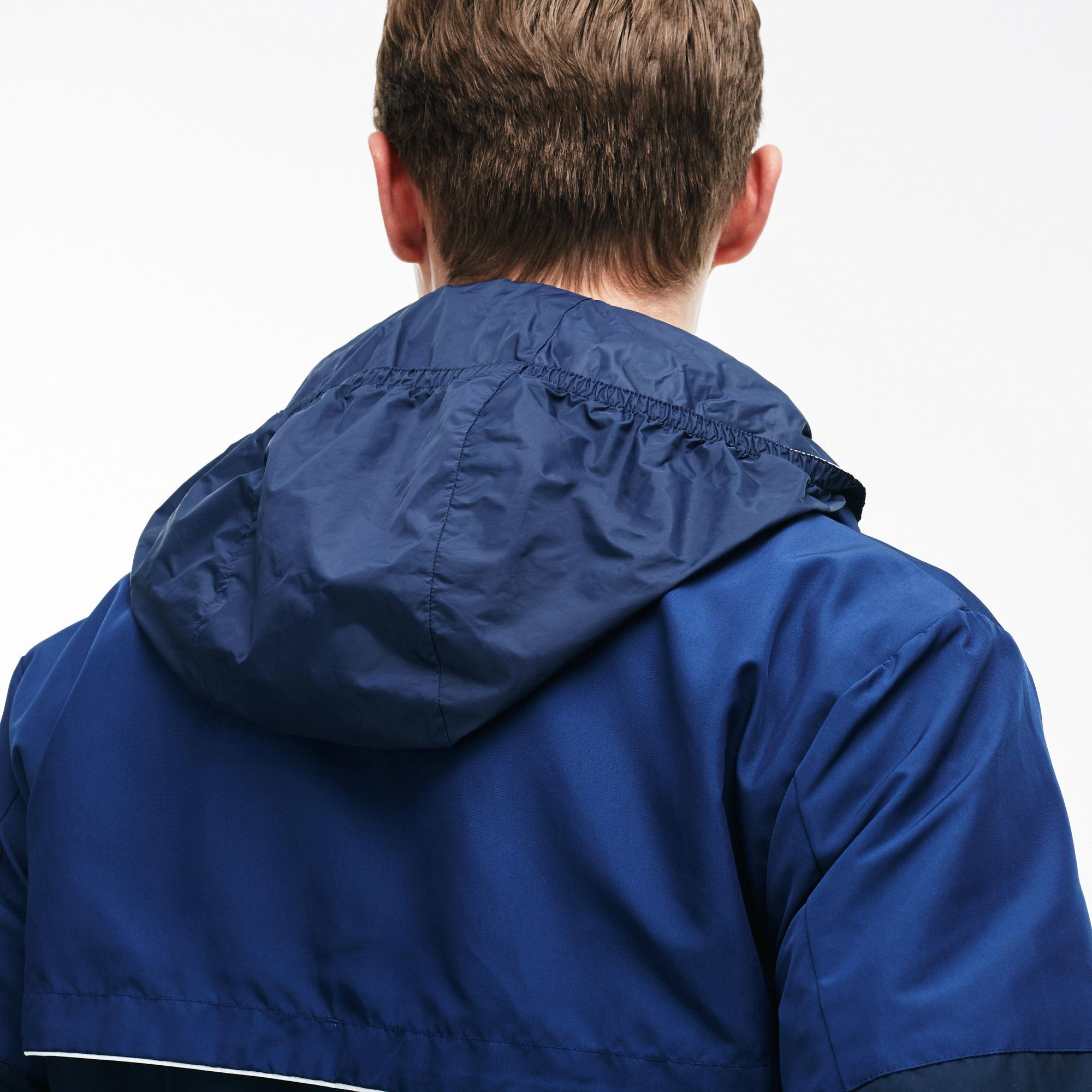 73bbcd459 Lyst - Lacoste Unicolor Nylon Contrasting Accents Hooded Zippered ...