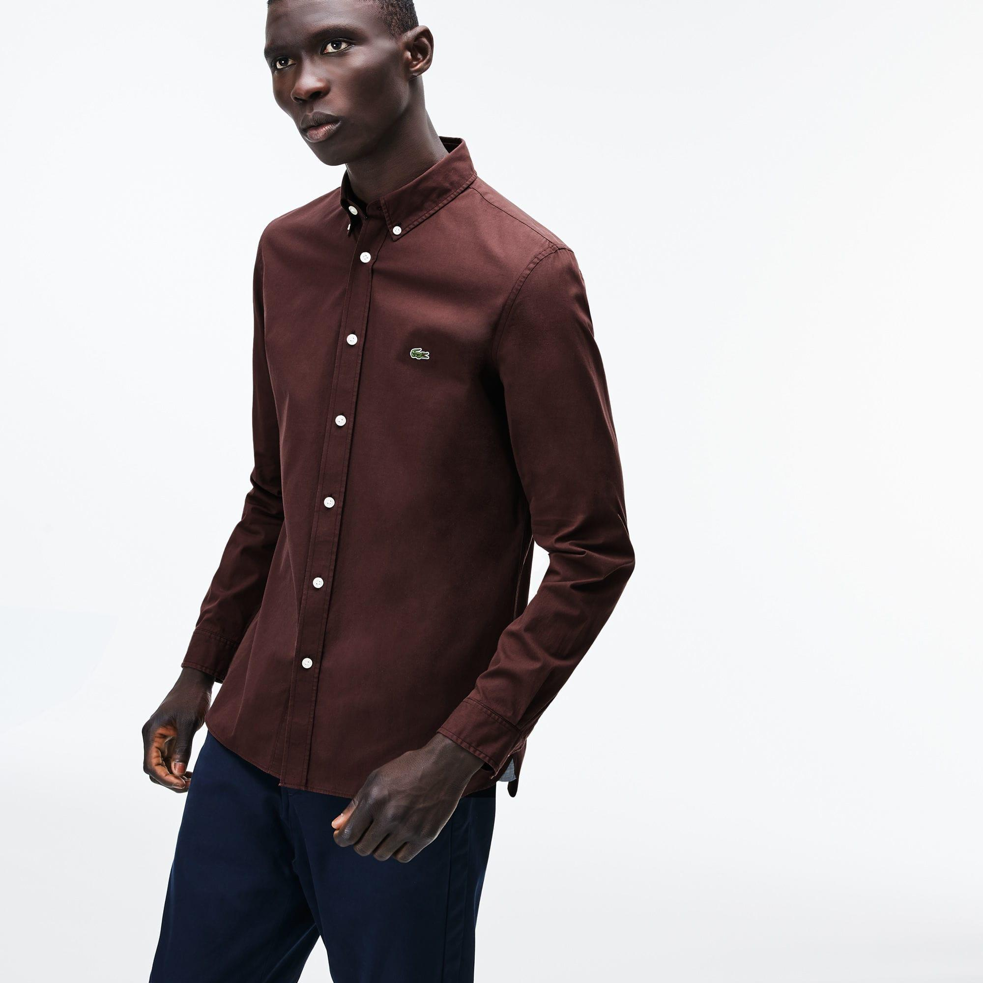 a31a9bbe30 Lacoste Slim Fit Stretch Cotton Poplin Shirt in Brown for Men - Lyst