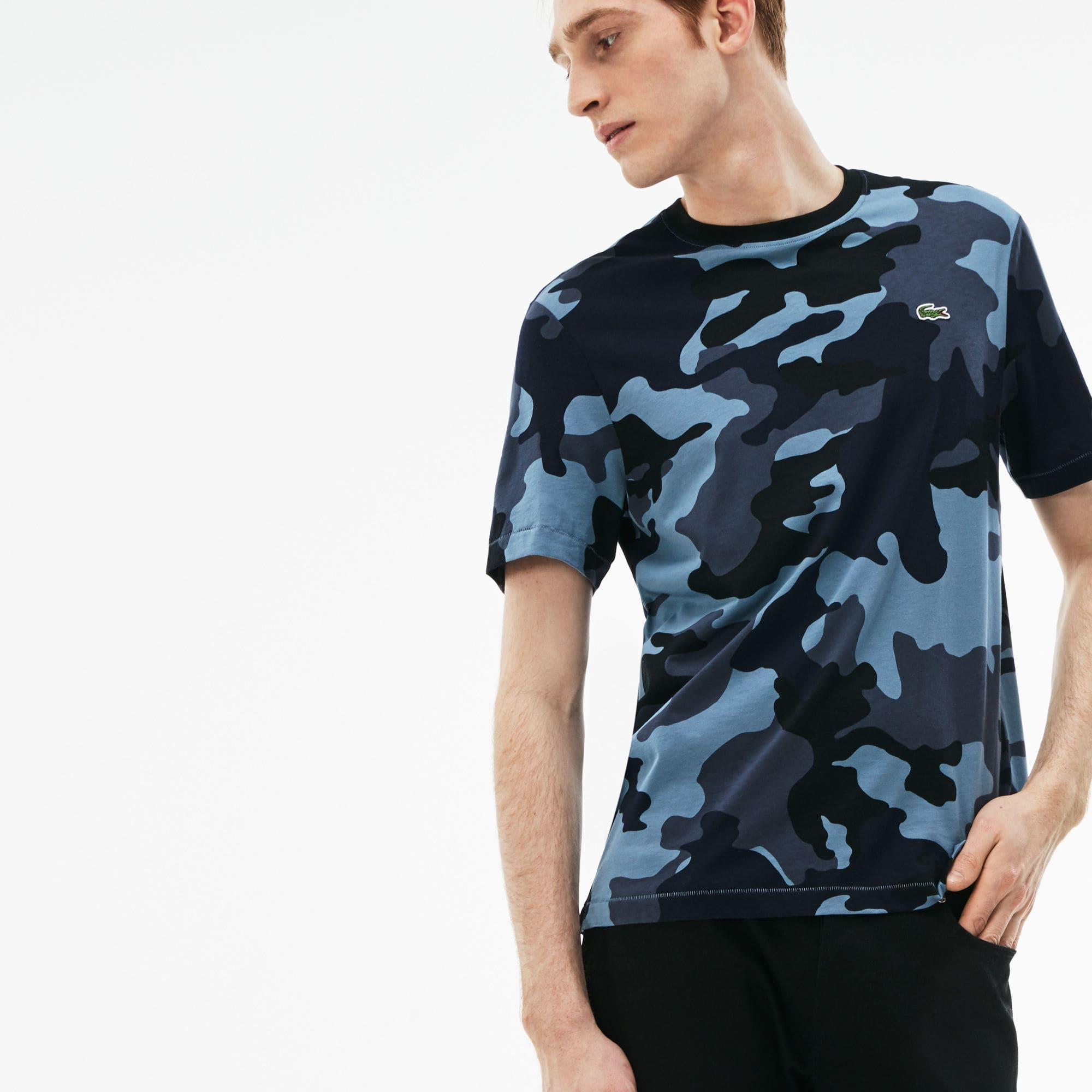 4477fcef Lacoste Blue Live Crew Neck Camouflage T-shirt for men