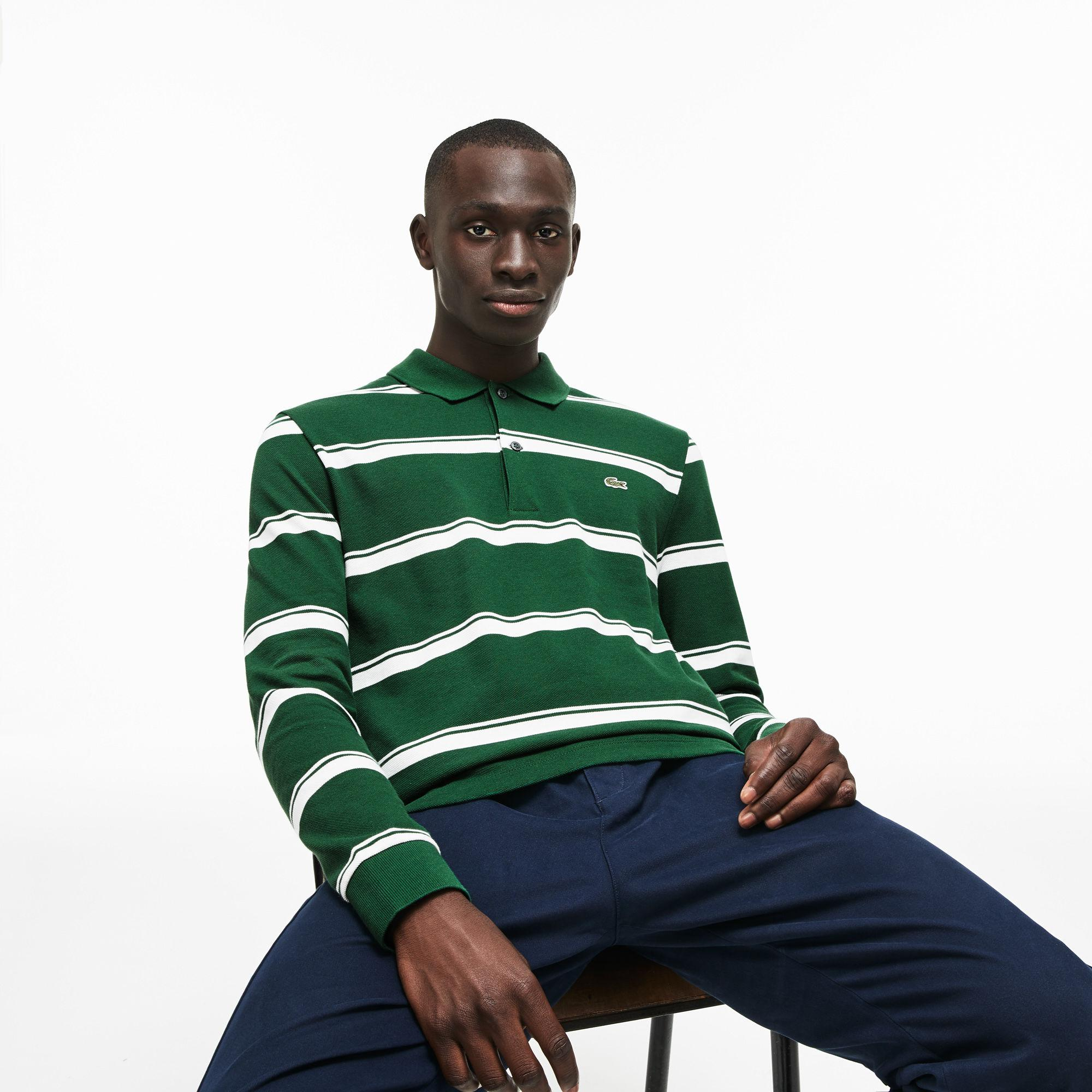 b38ba5d51 Lyst - Lacoste Regular Fit Striped Petit Piqué Polo in Green for Men
