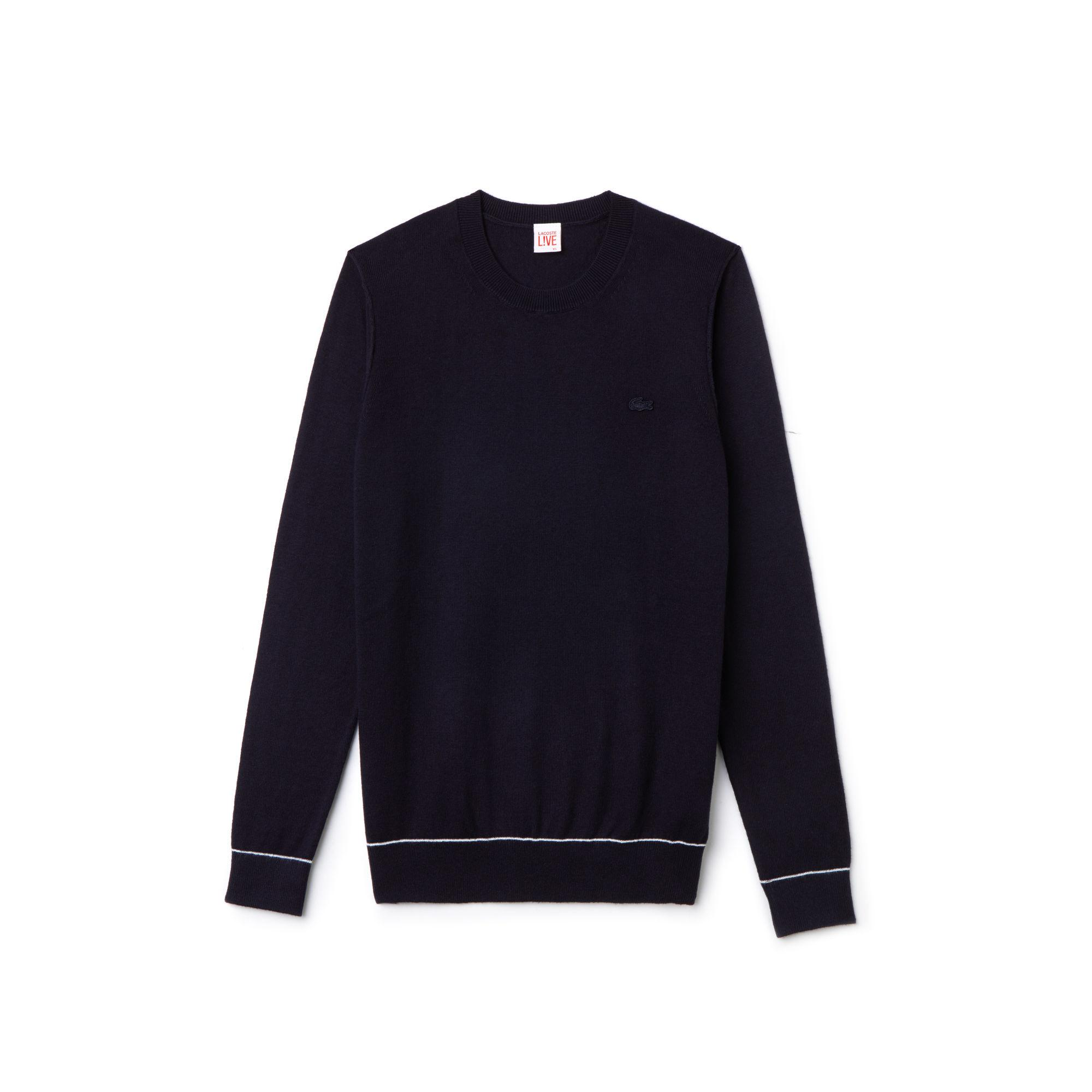 5e9b592fdd Lyst - Lacoste Live Crew Neck Cotton And Cashmere Jersey Sweater in Blue