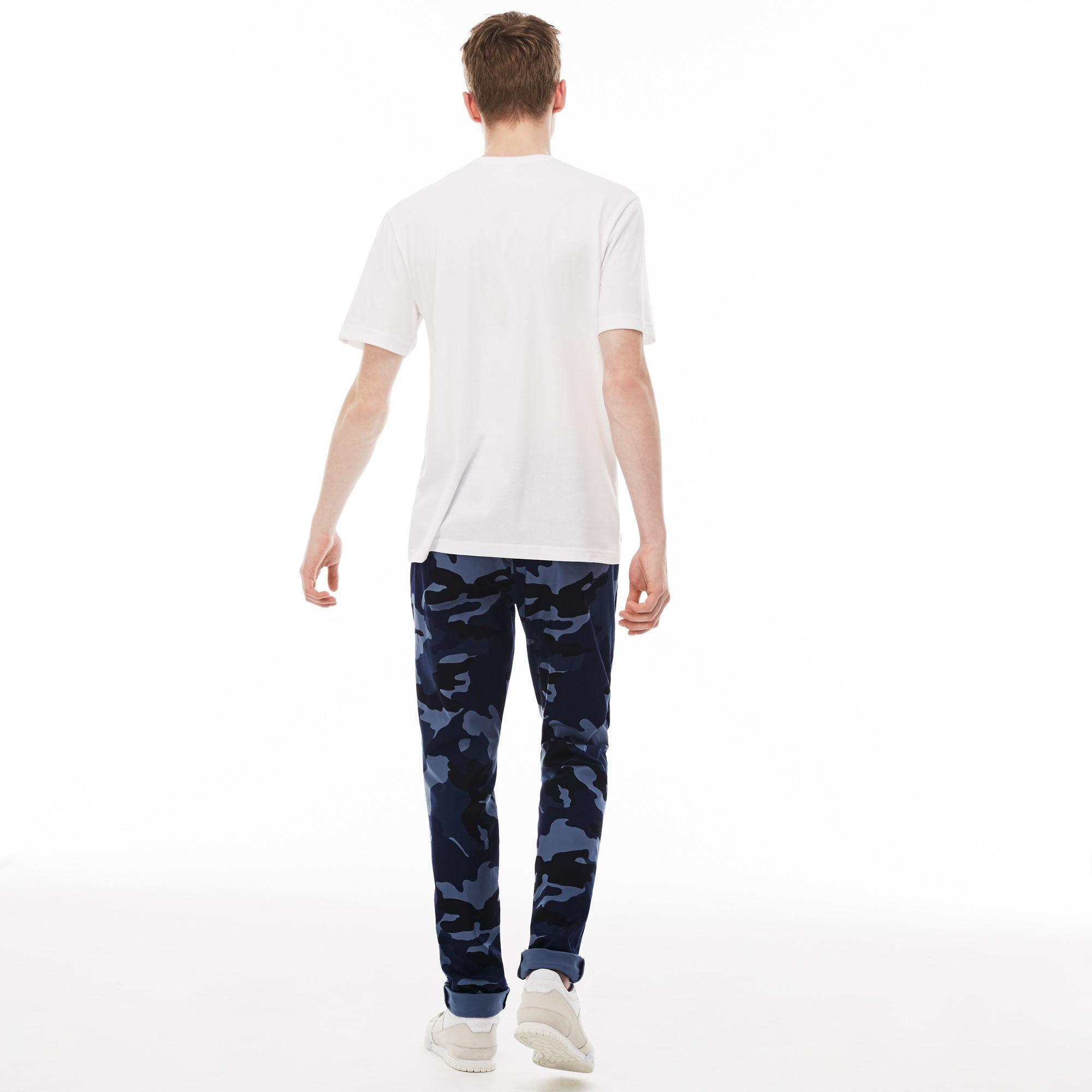 0a595c52 Lyst - Lacoste Live Print Twill Chino Pants in Blue for Men