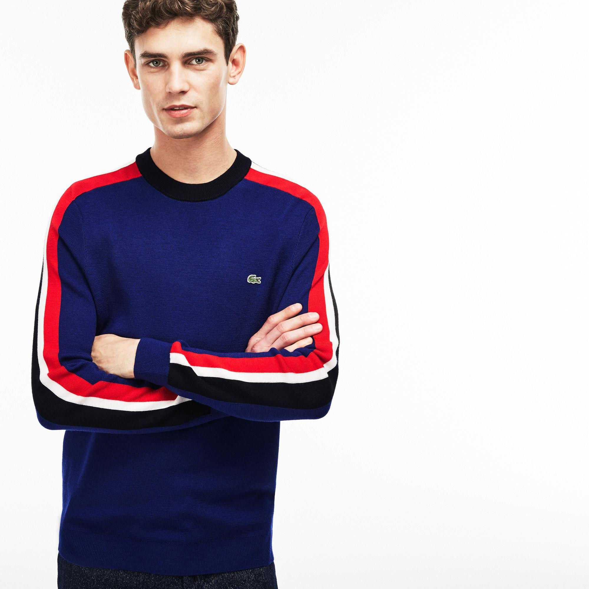 1f4888389f Lacoste Blue Crew Neck Ribbed Wool Colorblock Stripe Sweater for men