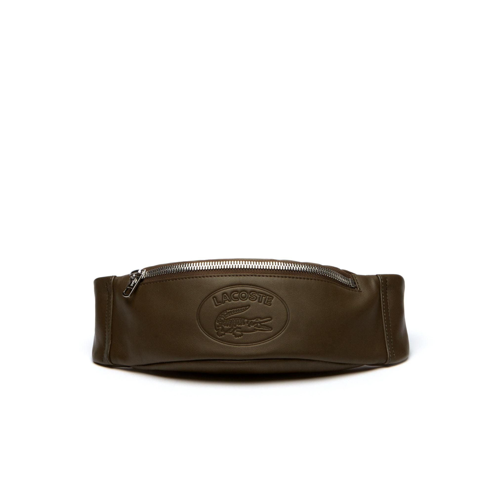 d2ef8559fb Lacoste L.12.12 Casual Embossed Lettering Leather Zip Fanny Pack for ...